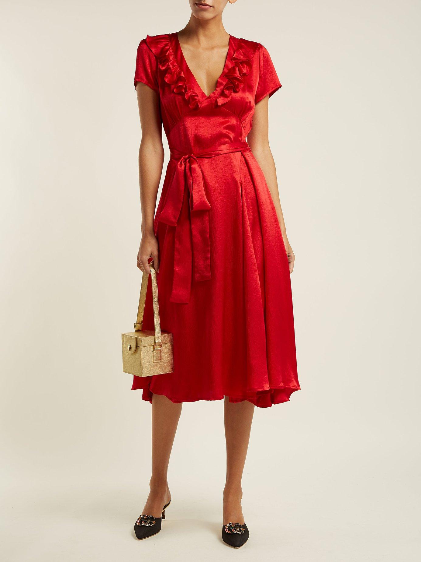 Celia ruffle-trimmed silk dress by Rhode Resort