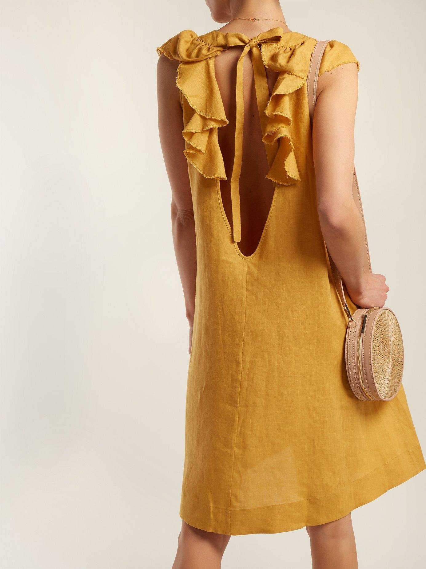 Faye tie-back linen dress by Three Graces London
