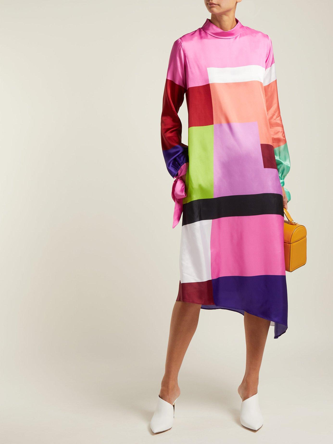 Leonora colour-block satin-twill dress by Mary Katrantzou
