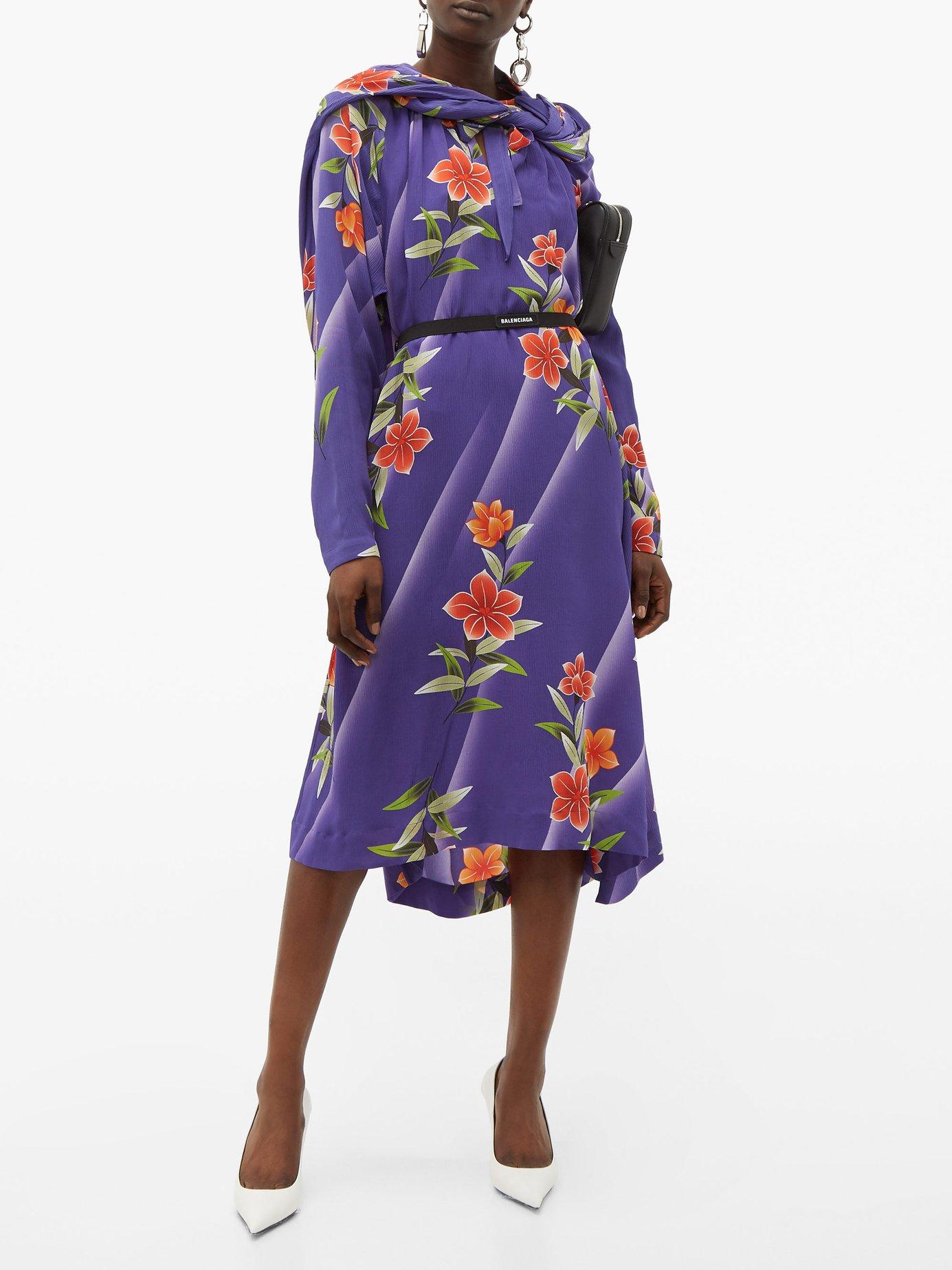 Floral-print twisted silk dress by Balenciaga