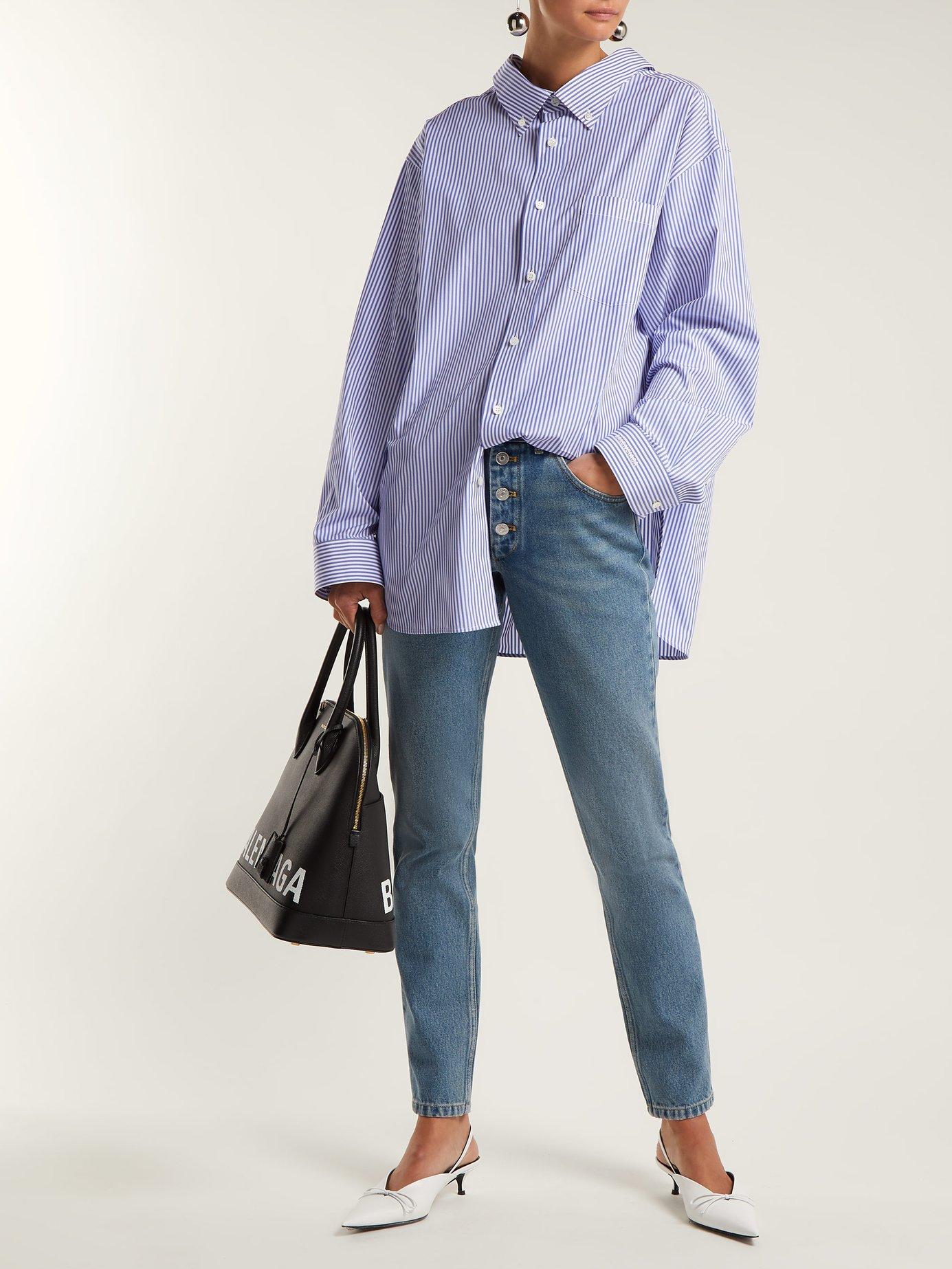 Swing-collar cotton-poplin striped shirt by Balenciaga