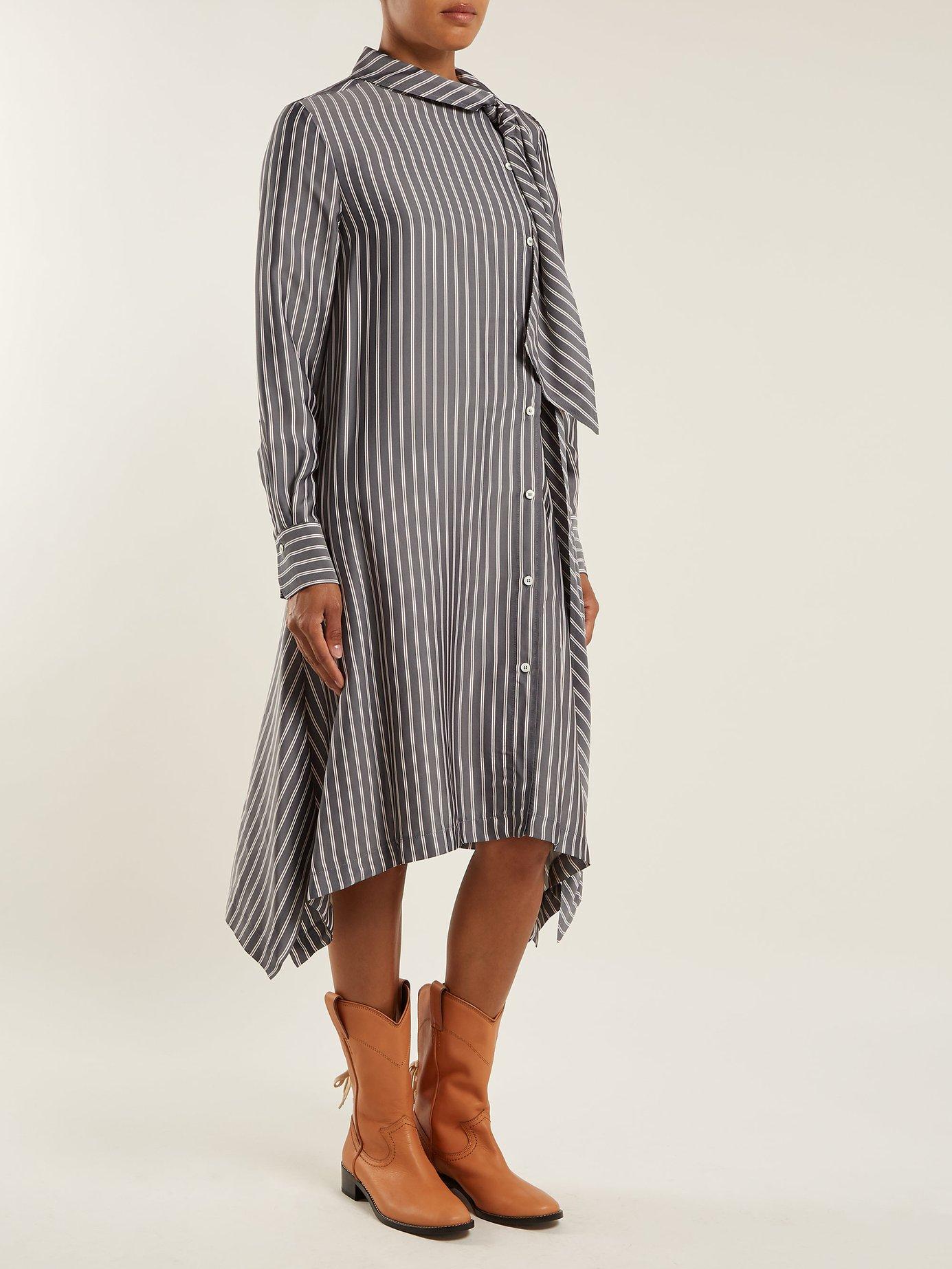 Striped asymmetric crepe midi dress by