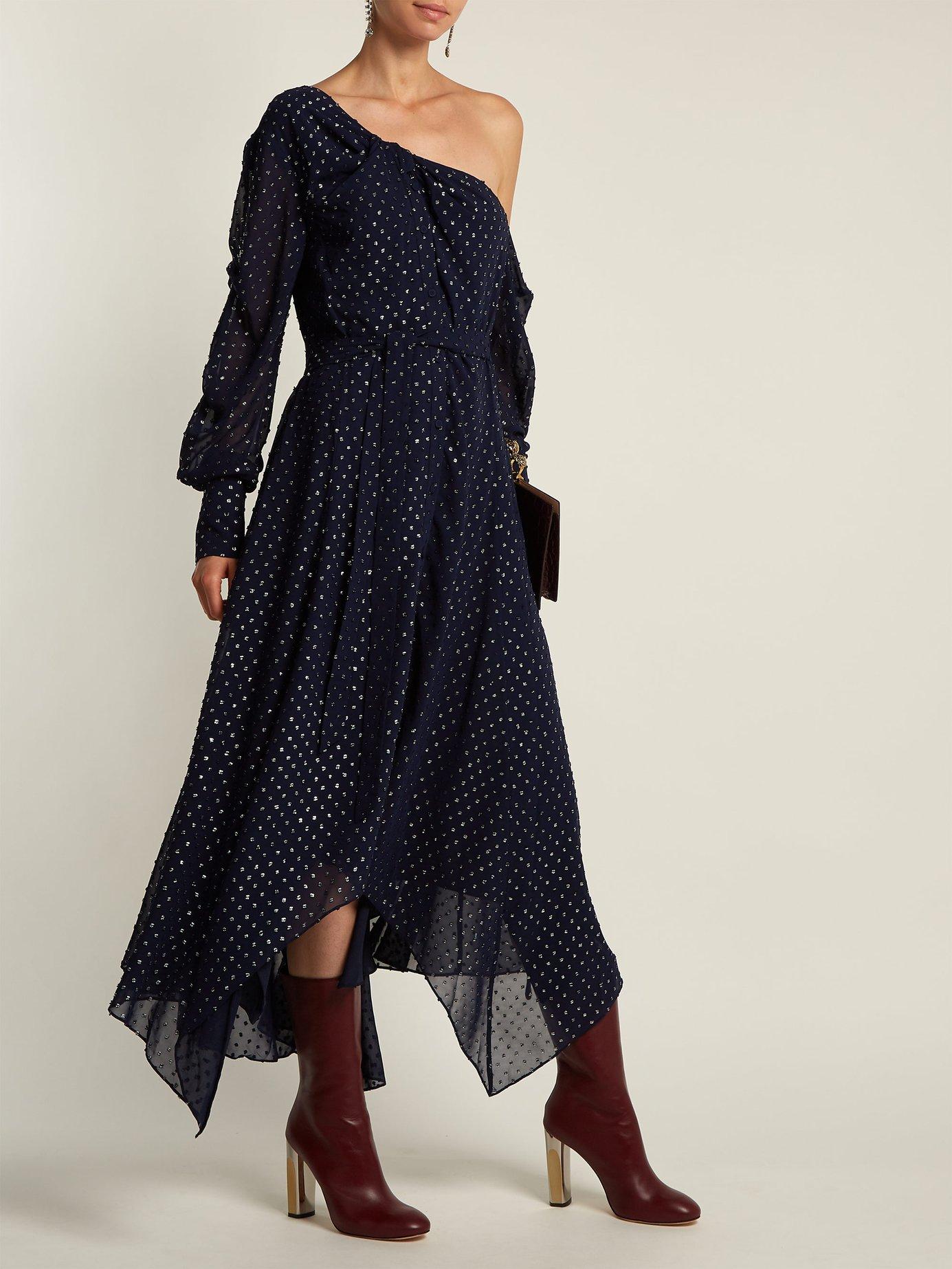 Asymmetric metallic dress by Jonathan Simkhai