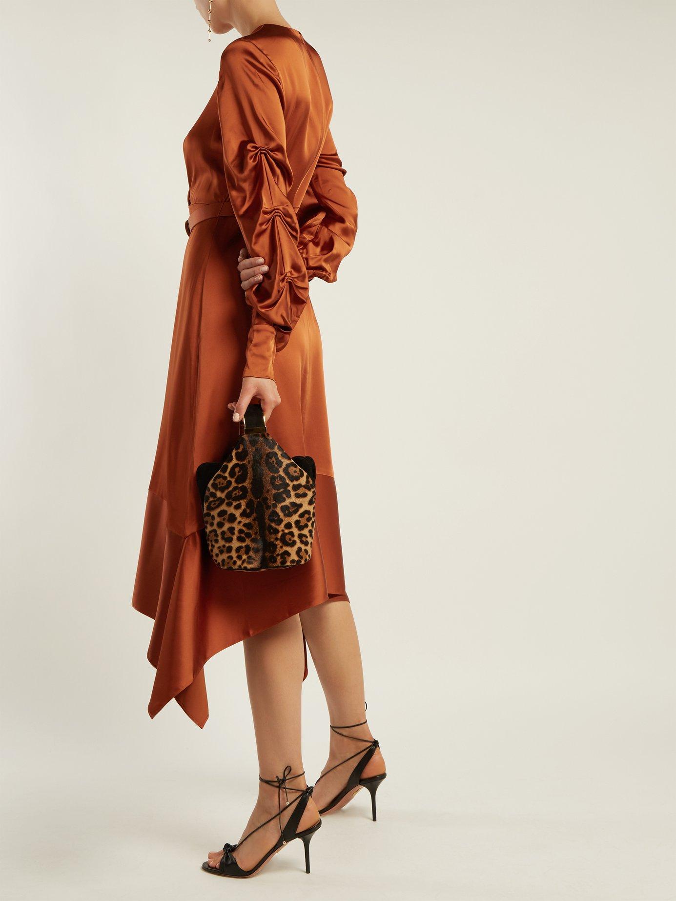 Asymmetric satin midi dress by Jonathan Simkhai