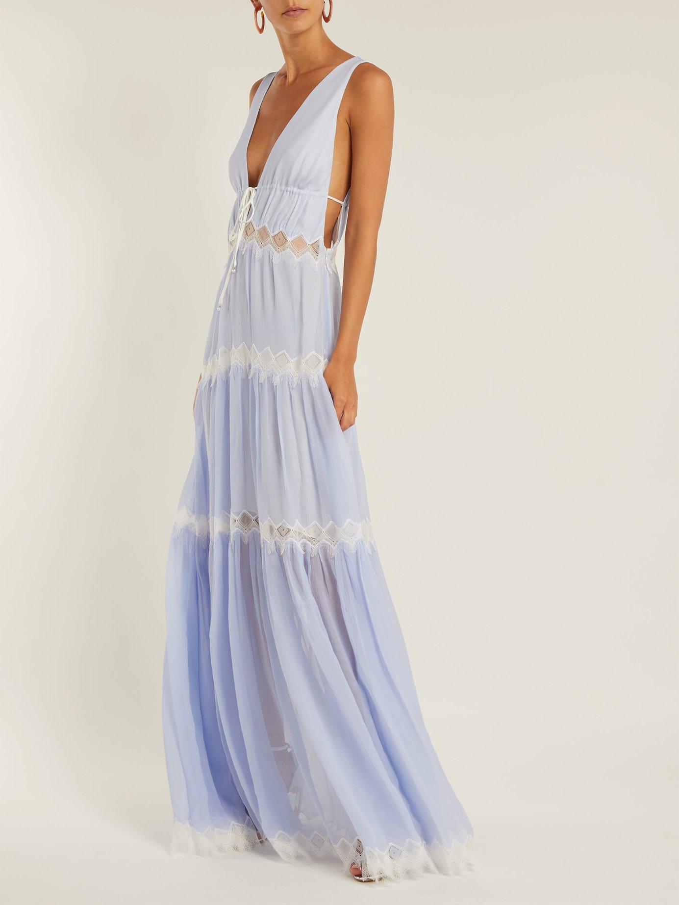Lace-embellished silk maxi dress by Jonathan Simkhai