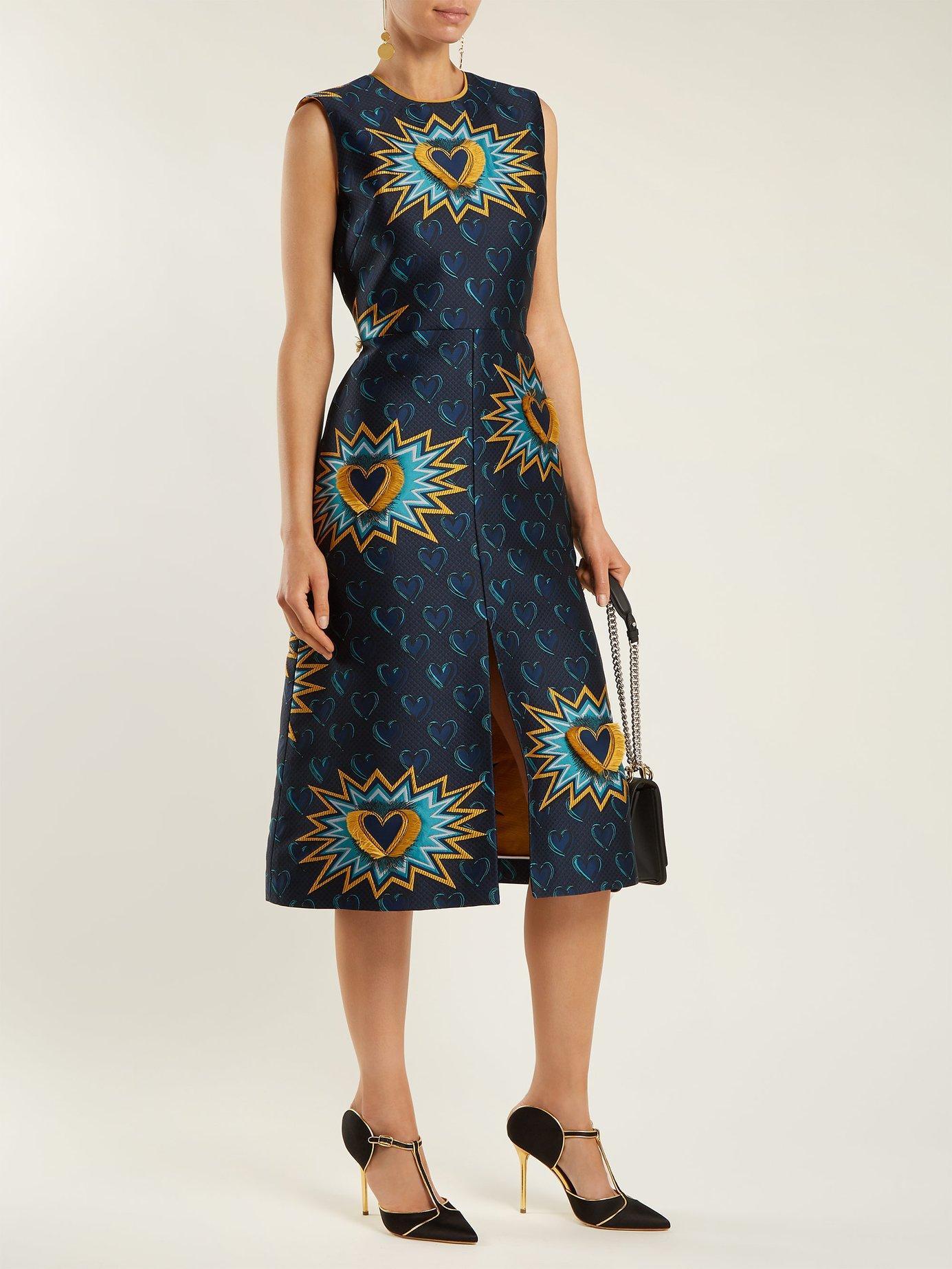 Heart Beat jacquard midi dress by Fendi