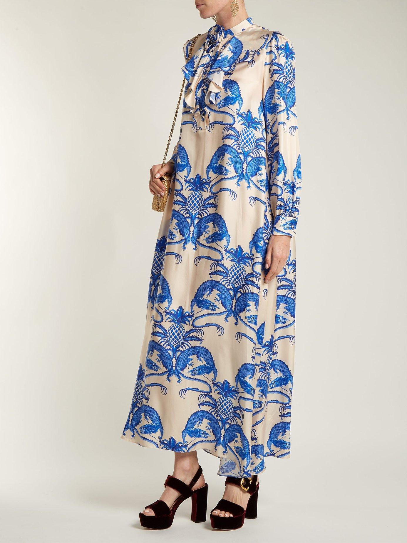 Dragon-print ruffle-trim silk-twill dress by Gucci