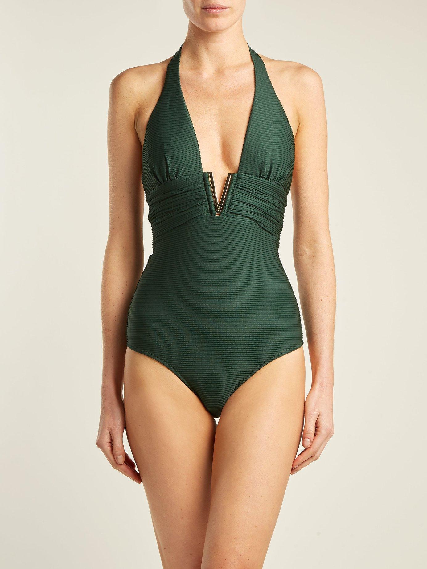 Polynesia V-bar ribbed swimsuit by Heidi Klein