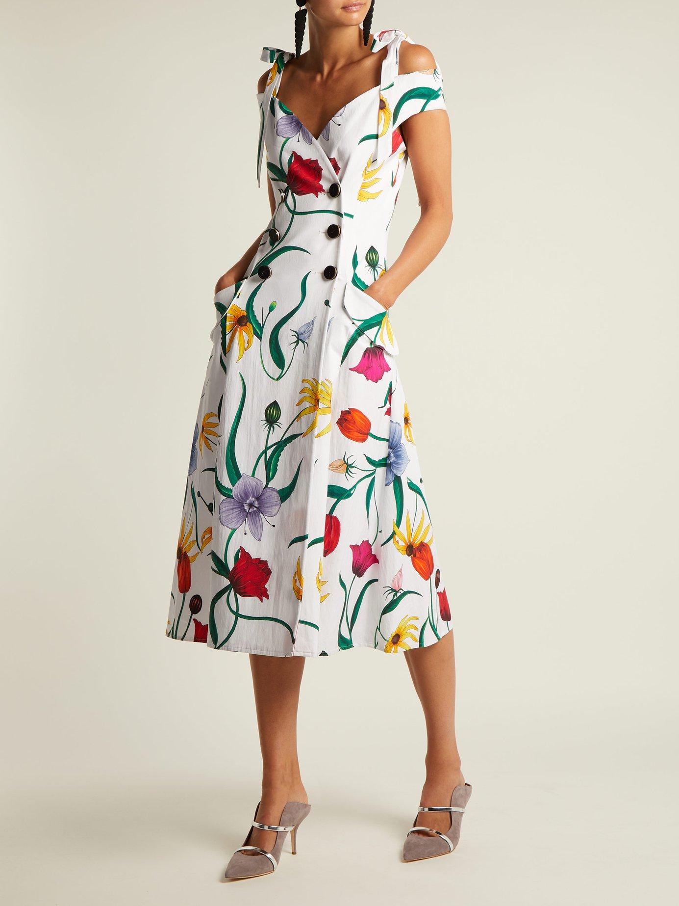 Floral-print cotton-blend faille dress by Carolina Herrera