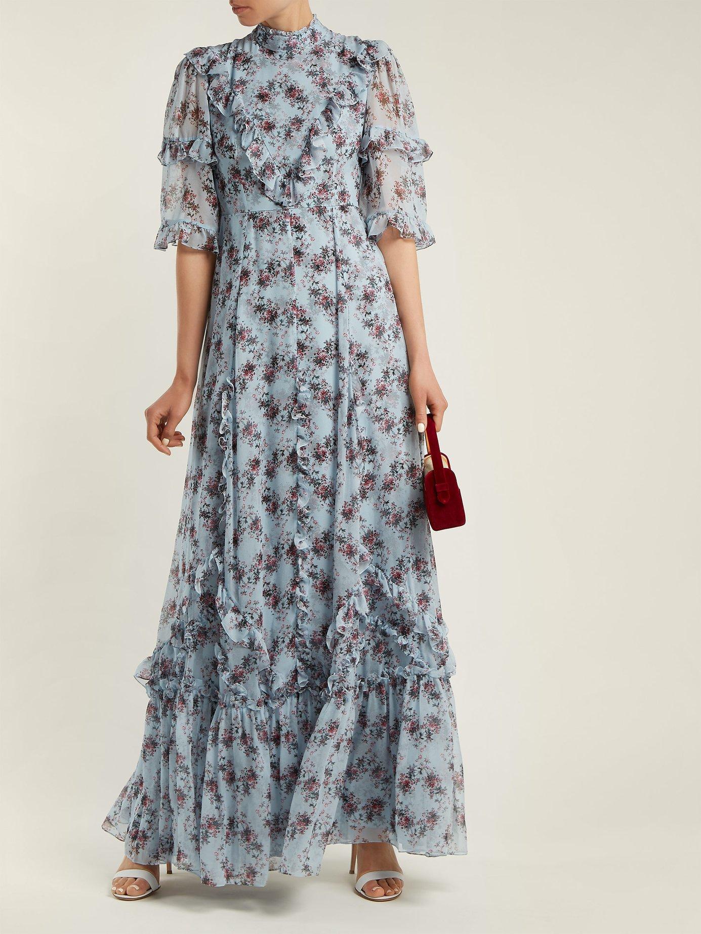 Isidor Keiko-print silk gown by Erdem