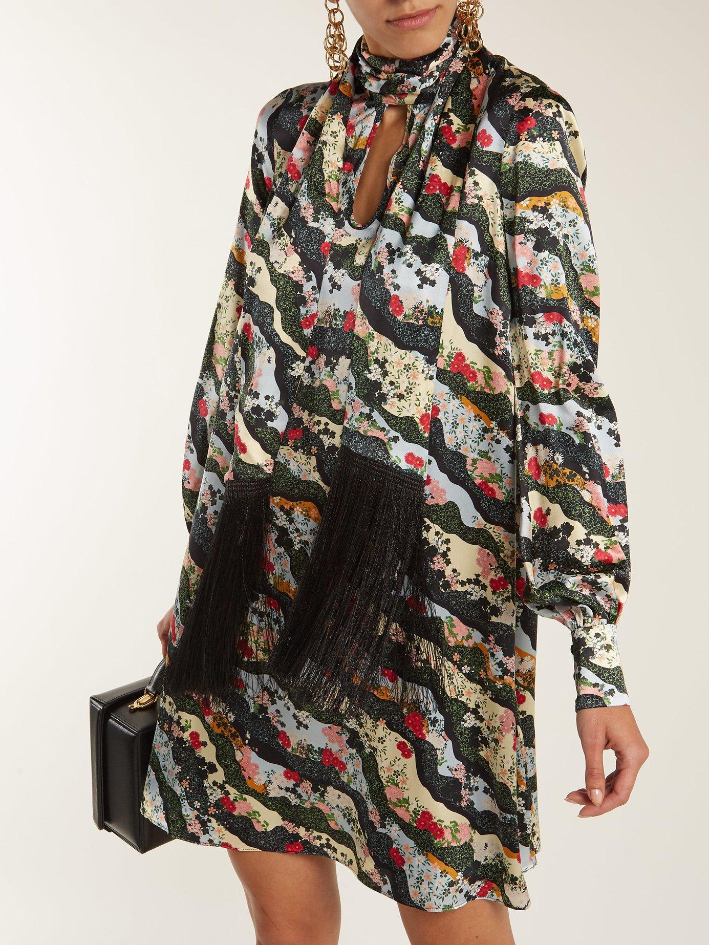 Gwendoline Keiko Marble-print silk dress by Erdem