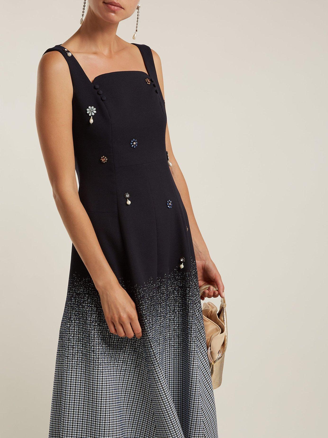 Polly crystal-embellished cotton-blend dress by Erdem