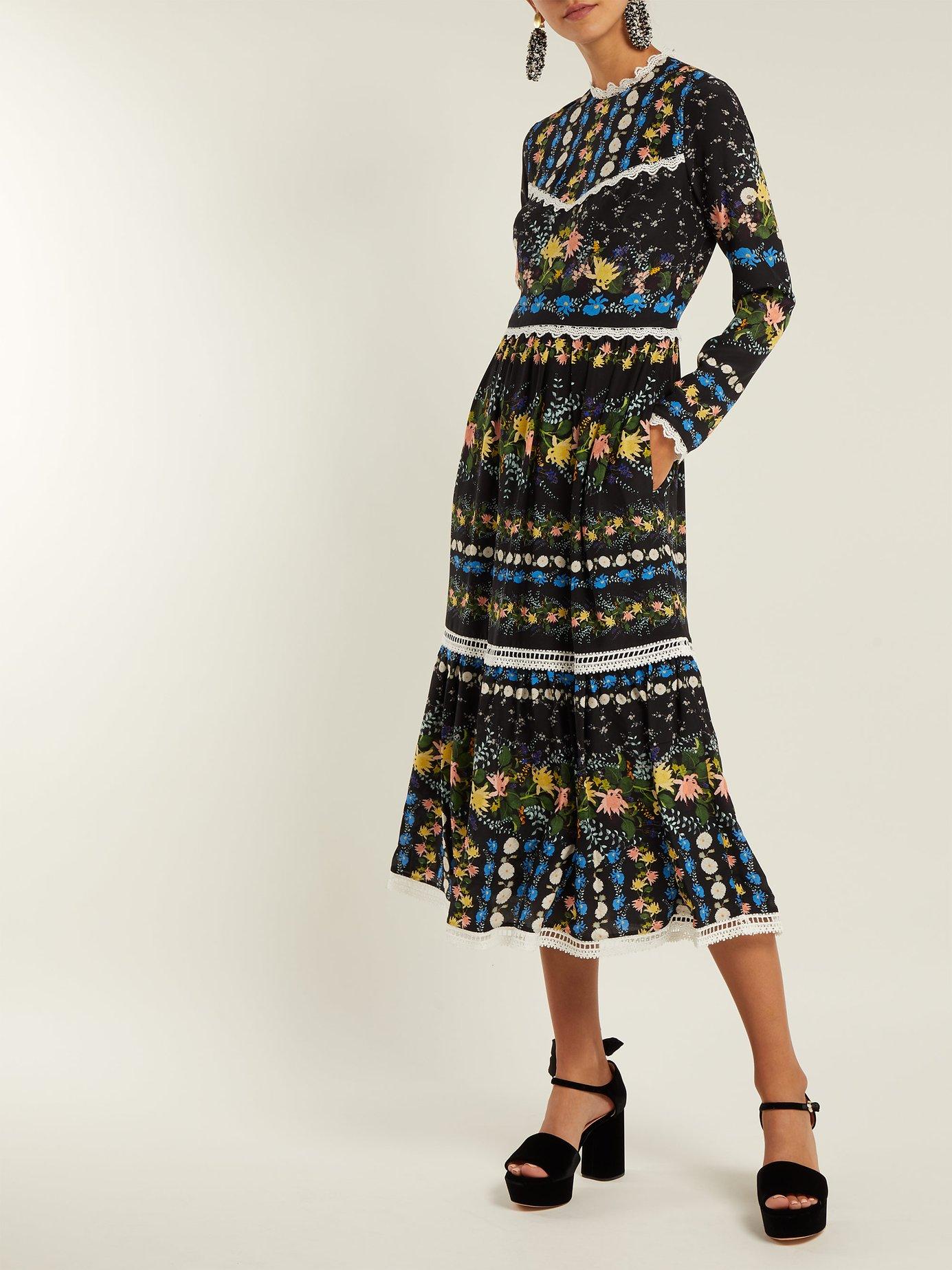 Georgie Mariko Meadow-print silk dress by Erdem