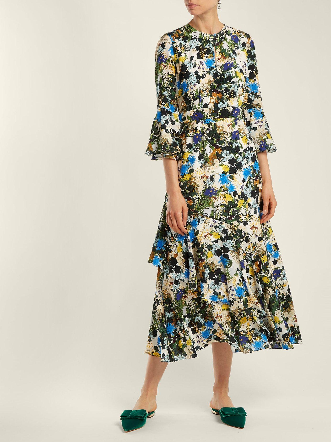 Florence Mariko-print silk dress by Erdem