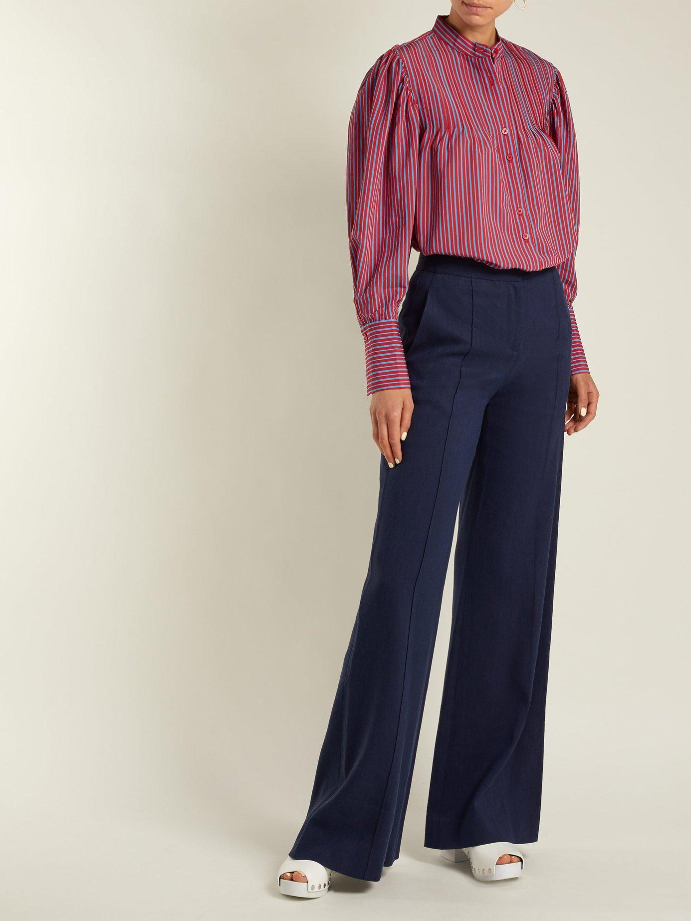 Pleated Mandarin-collar shirt by Diane Von Furstenberg