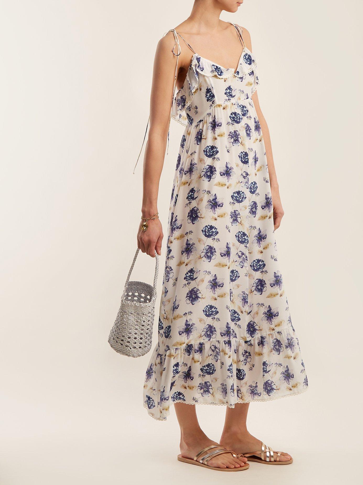 Floral-print ruffle-trimmed silk maxi-dress by Athena Procopiou