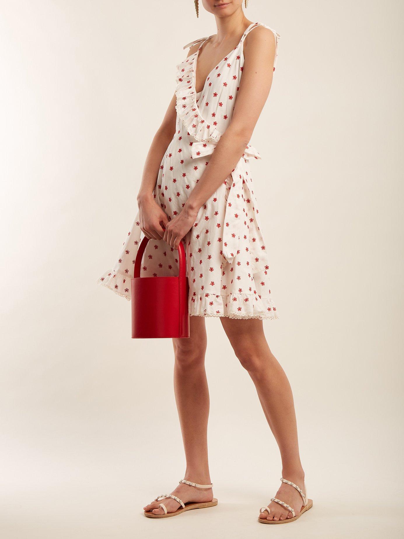 Embroidered cotton-blend wrap dress by Athena Procopiou