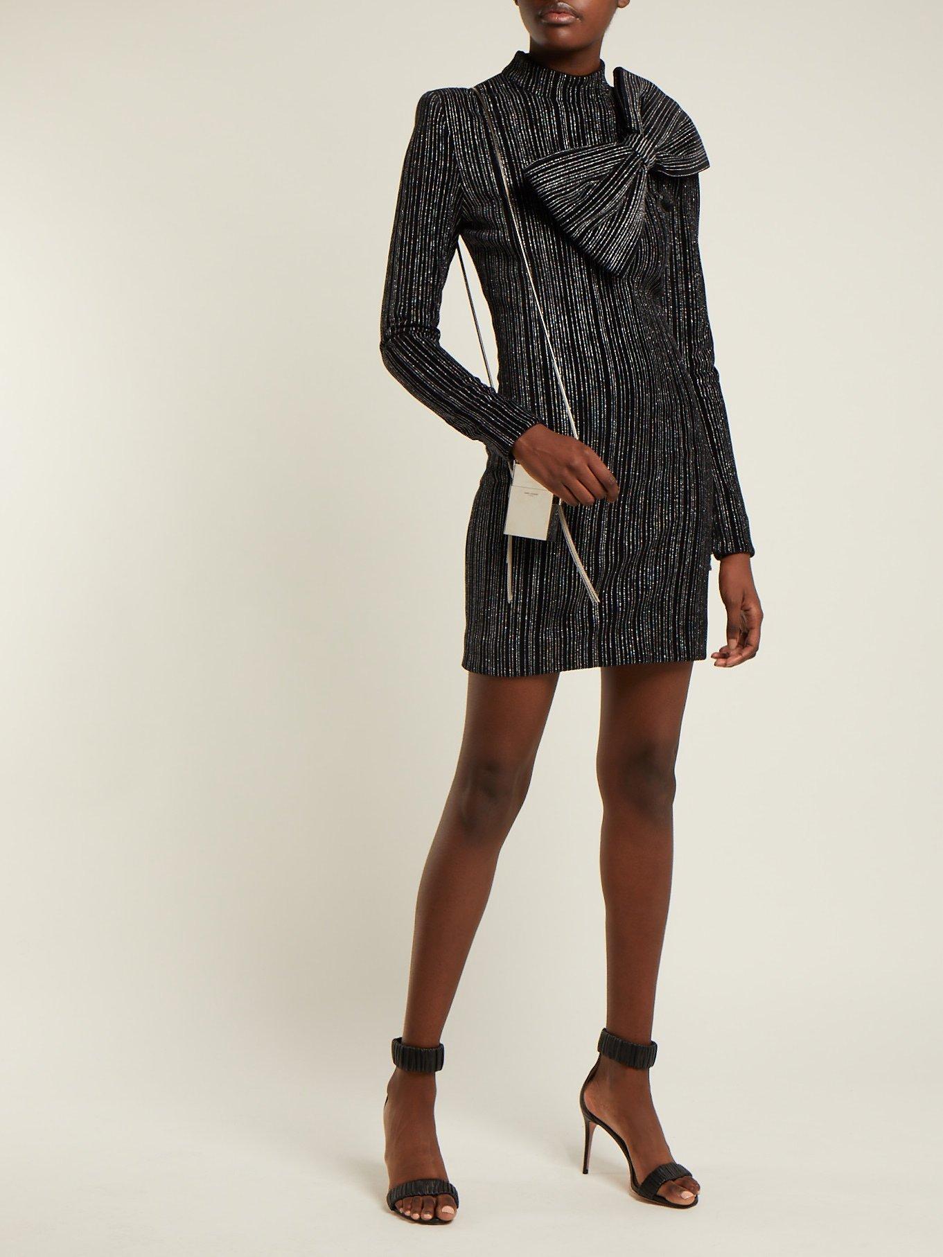 Striped Lurex cotton-blend mini dress by Balmain