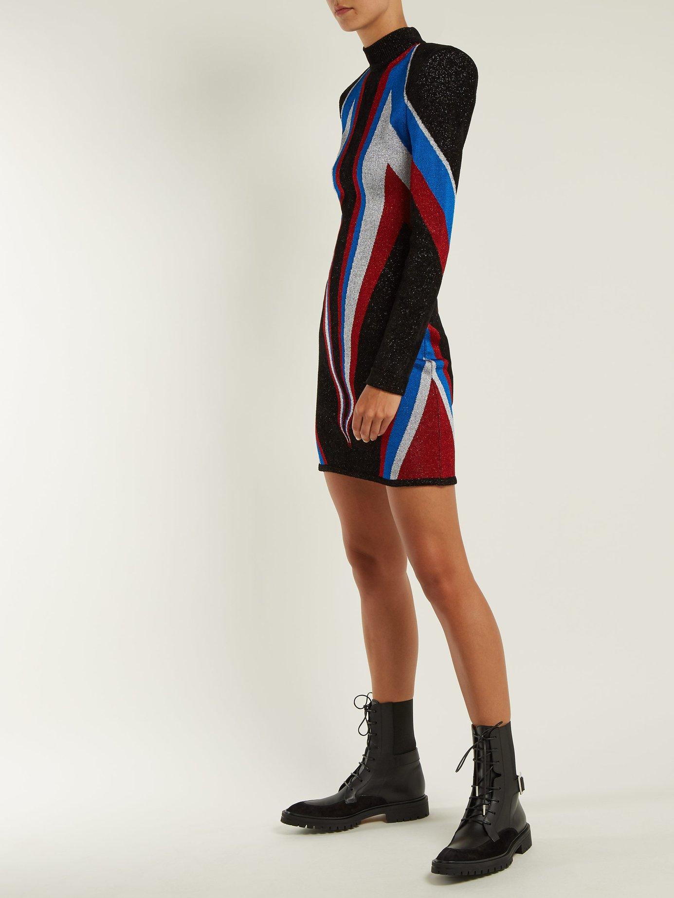 High-neck knit mini dress by Balmain