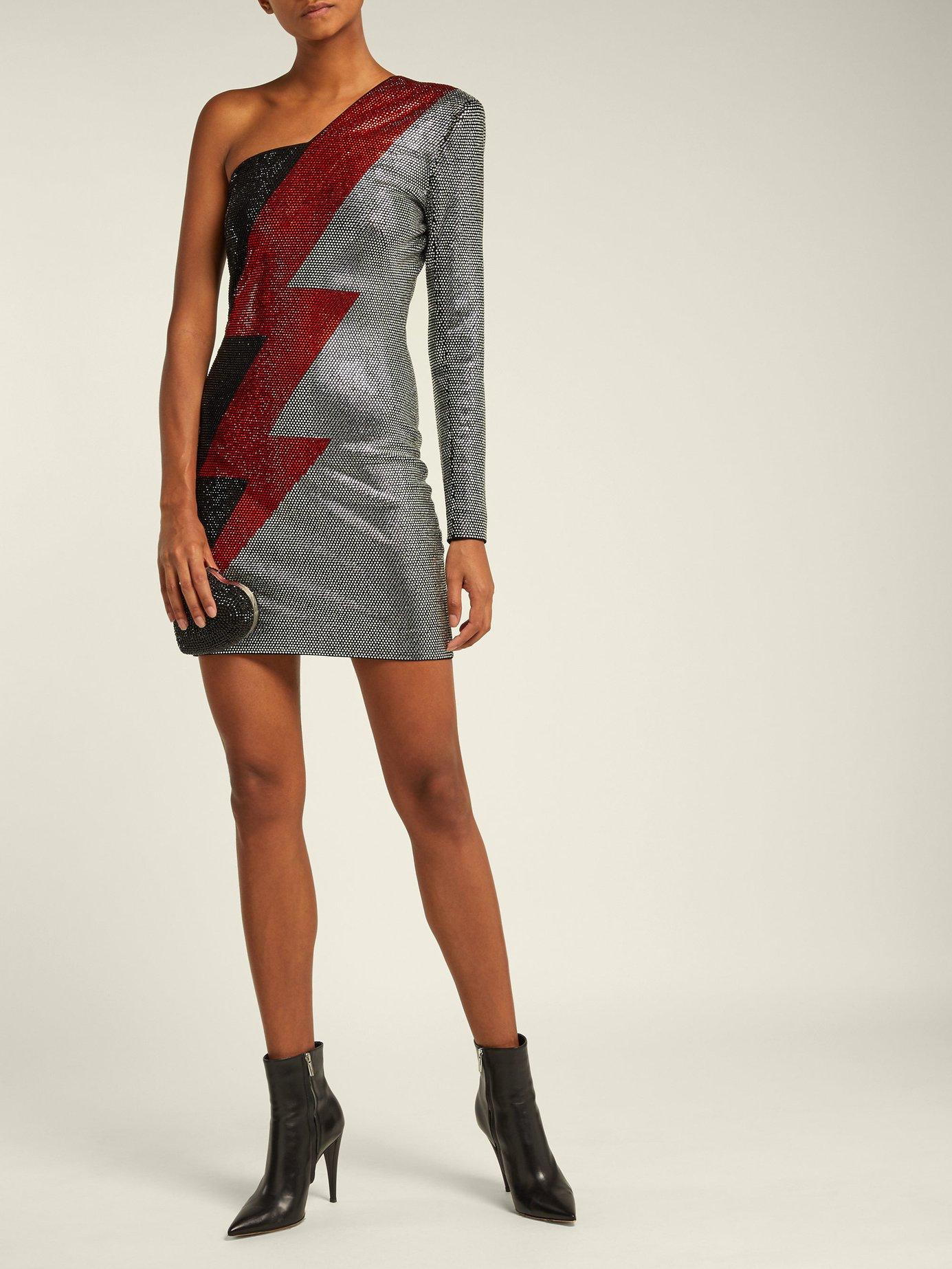 One-shoulder lightening bold-print mini dress by Balmain