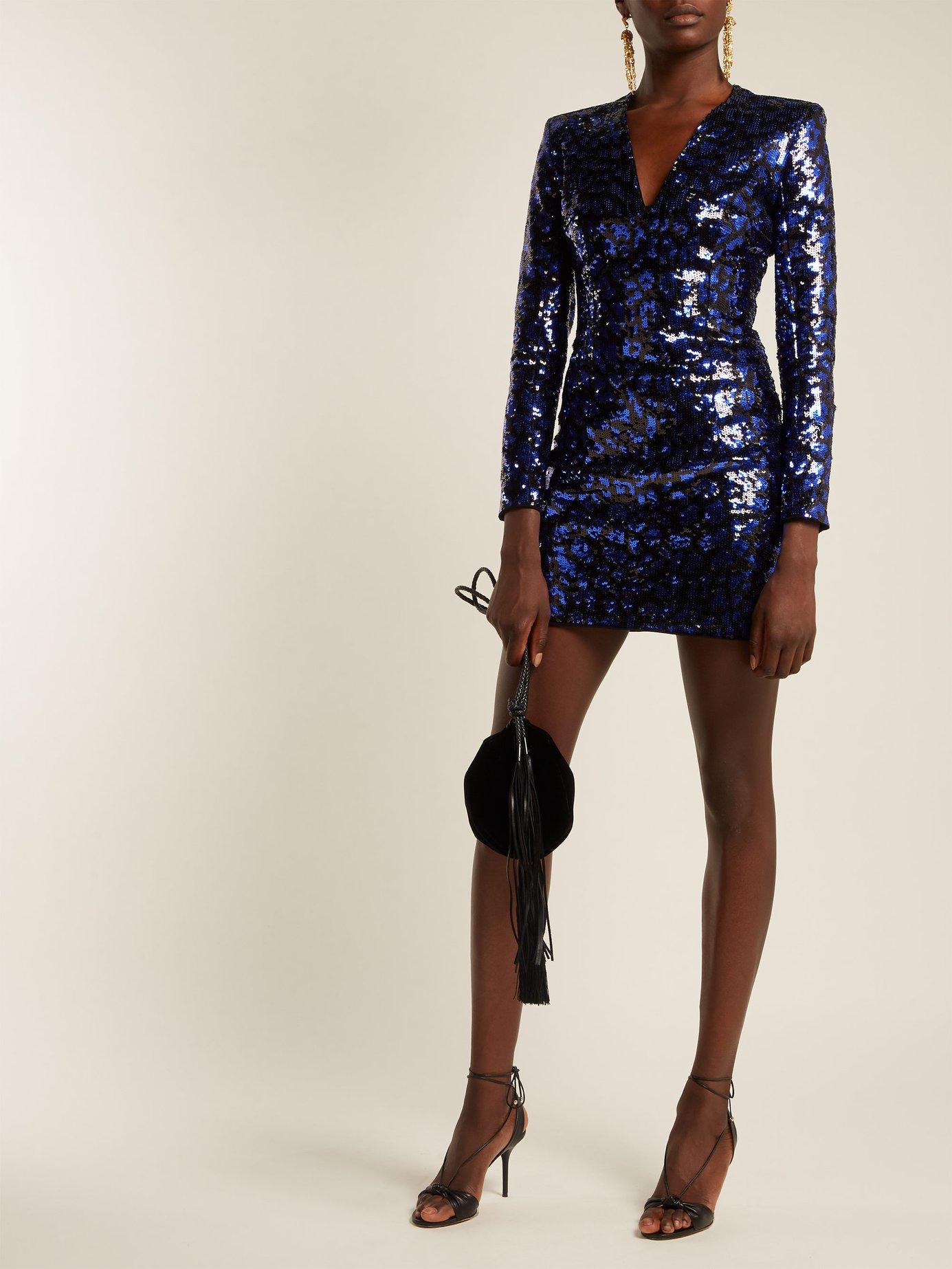 Leopard sequinned mini dress by Balmain