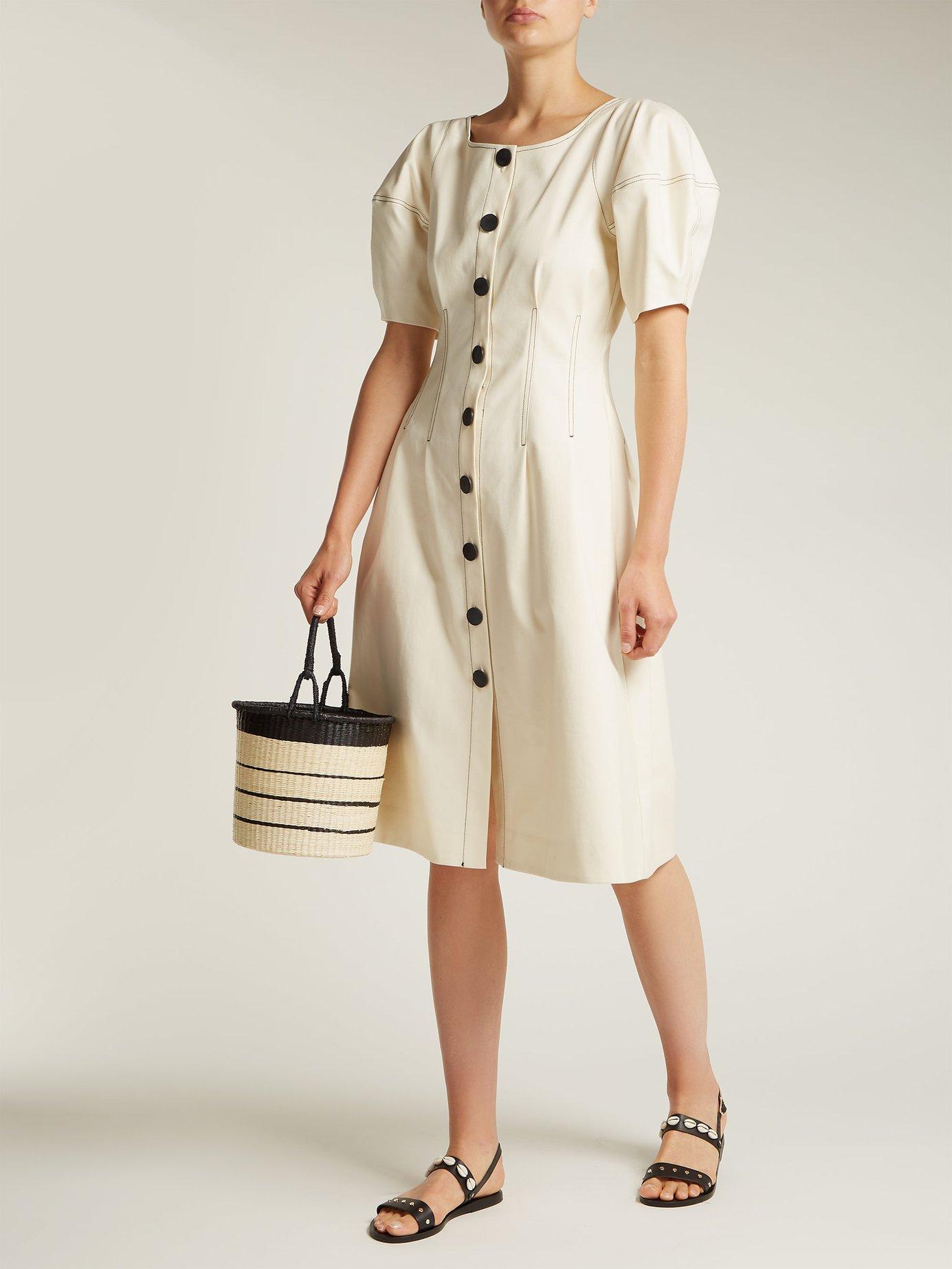 Kamille lantern-sleeved cotton midi dress by Sea