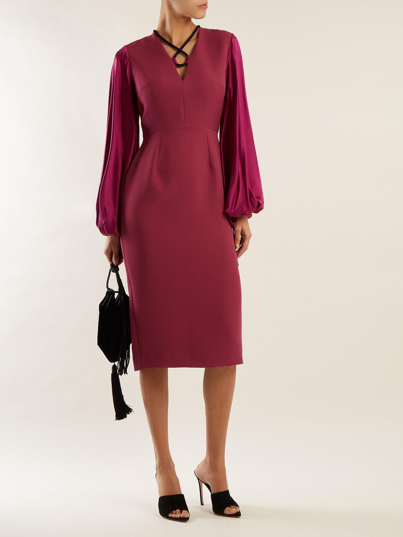 Darya blouson-sleeve crepe dress by Roksanda