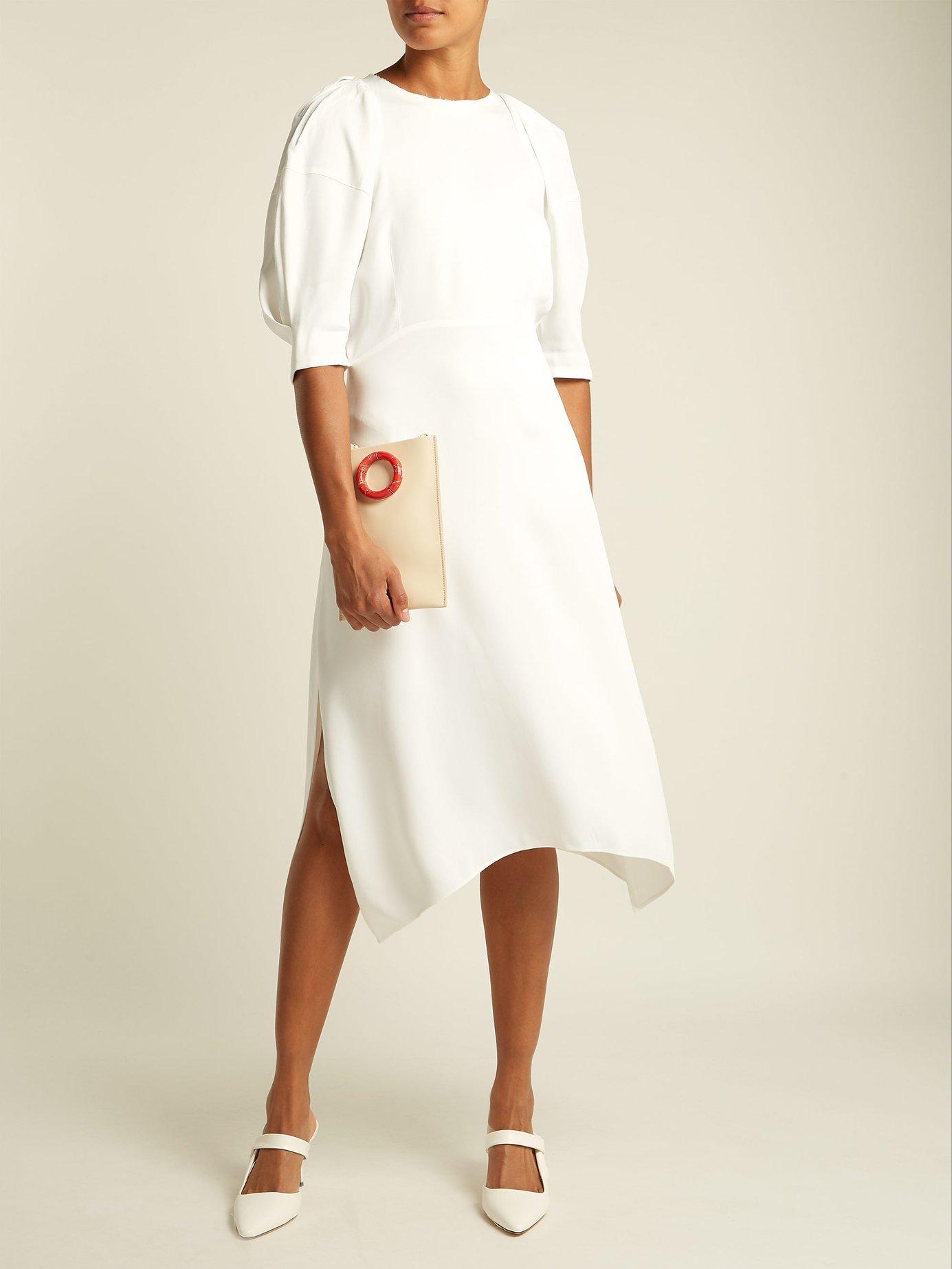Cynthia puffed-sleeve midi dress by Khaite