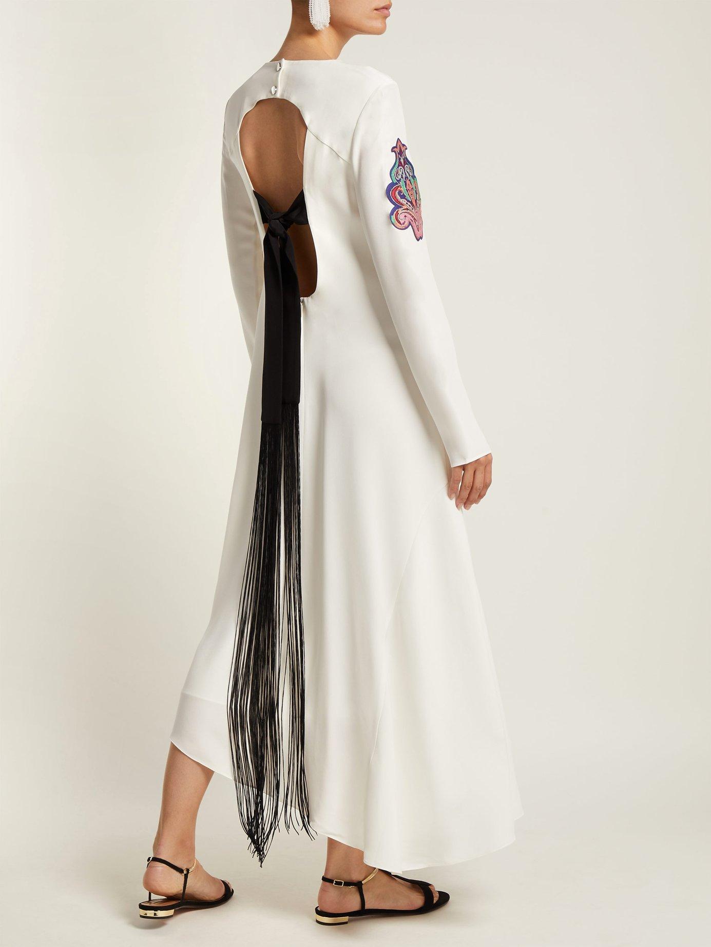 Paisley-patch tie-back silk dress by Tibi