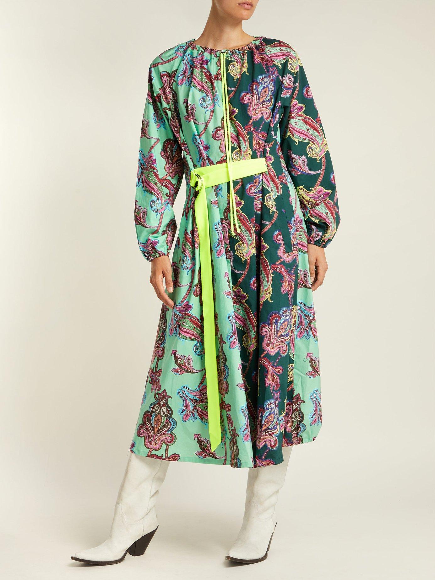 Paisley-print patchwork cotton-poplin dress by Tibi