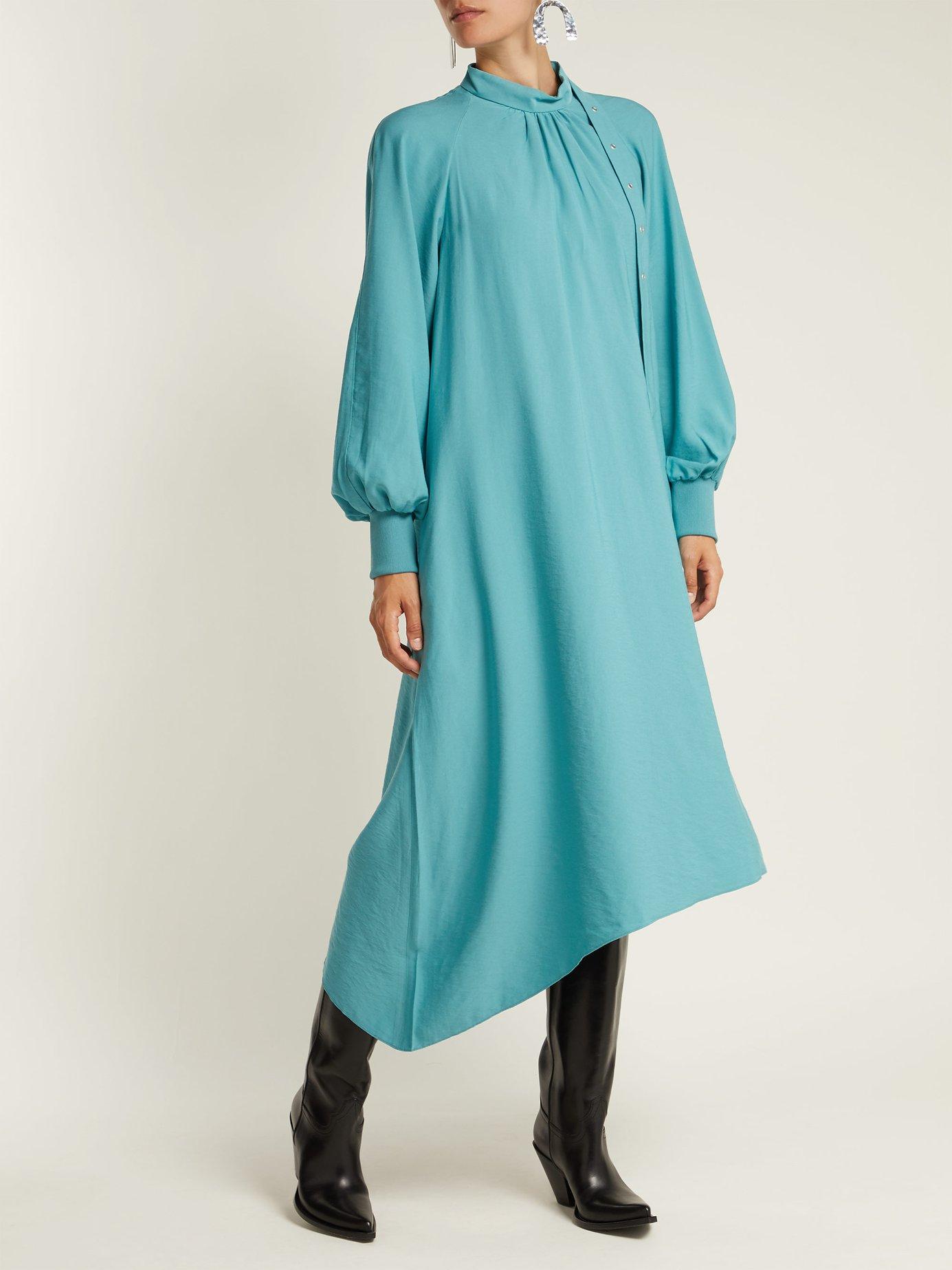 High-neck asymmetric twill dress by Tibi