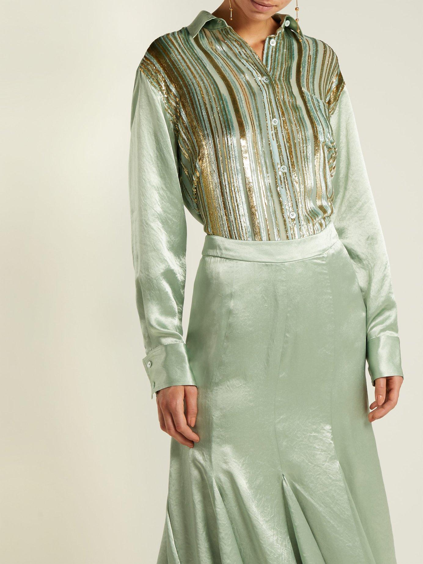 Sander velvet-stripe silk-blend shirt by Sies Marjan