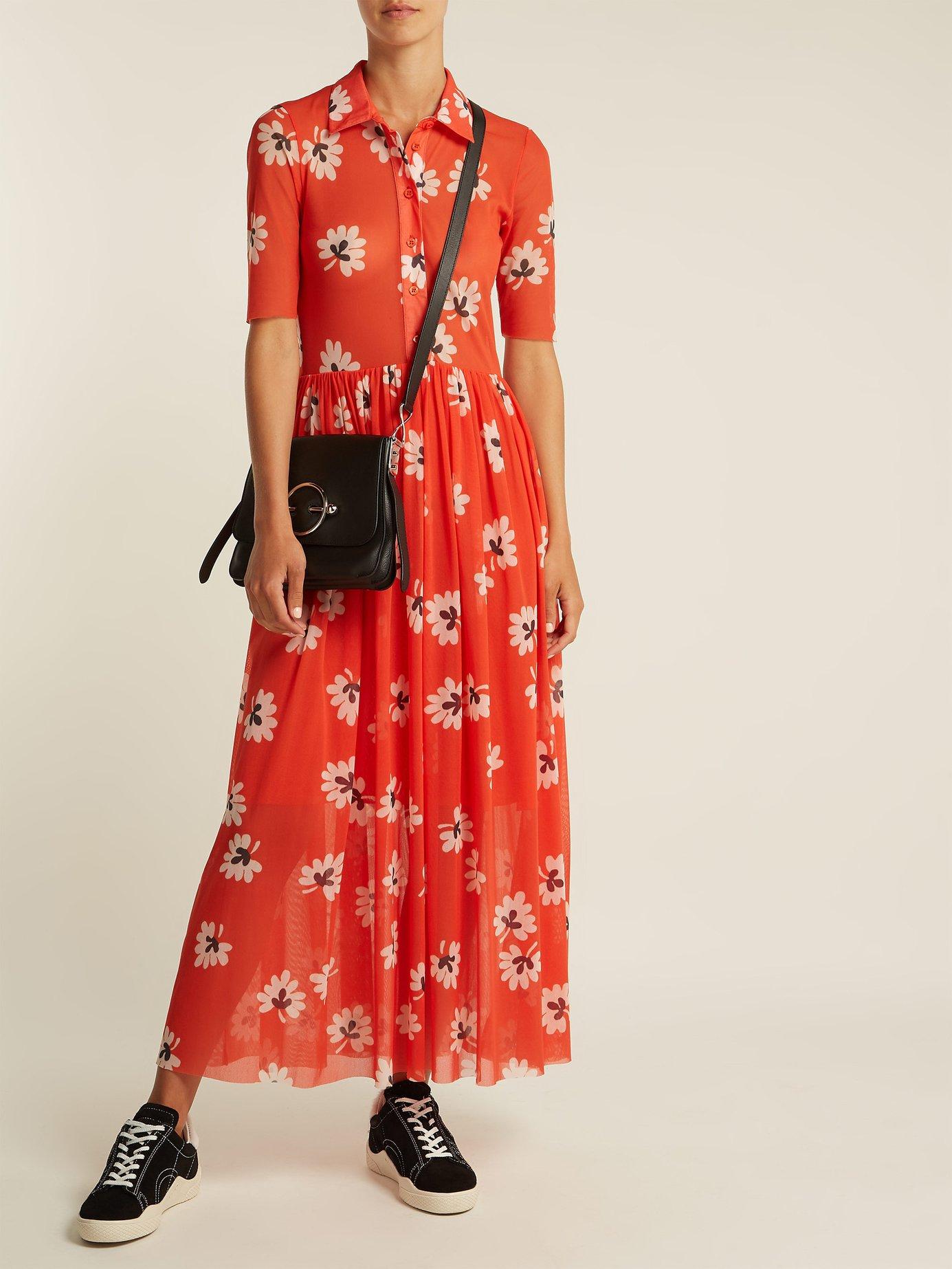 Tilden floral-print mesh shirt dress by Ganni