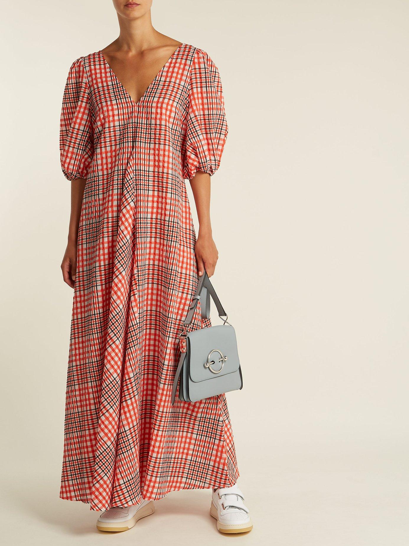 Charron puff-sleeve gingham dress by Ganni