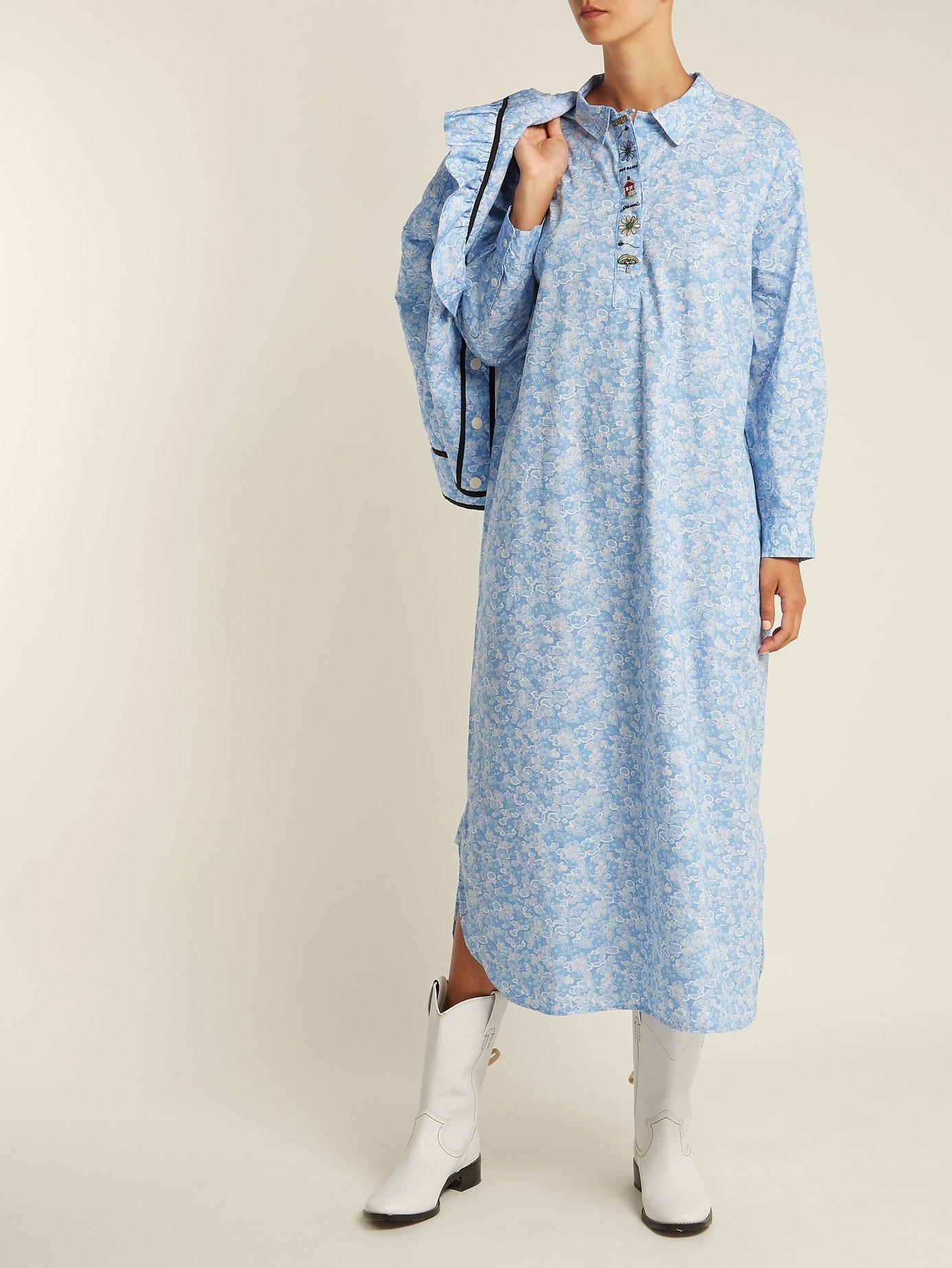 Sage floral-print long-sleeve dress by Ganni