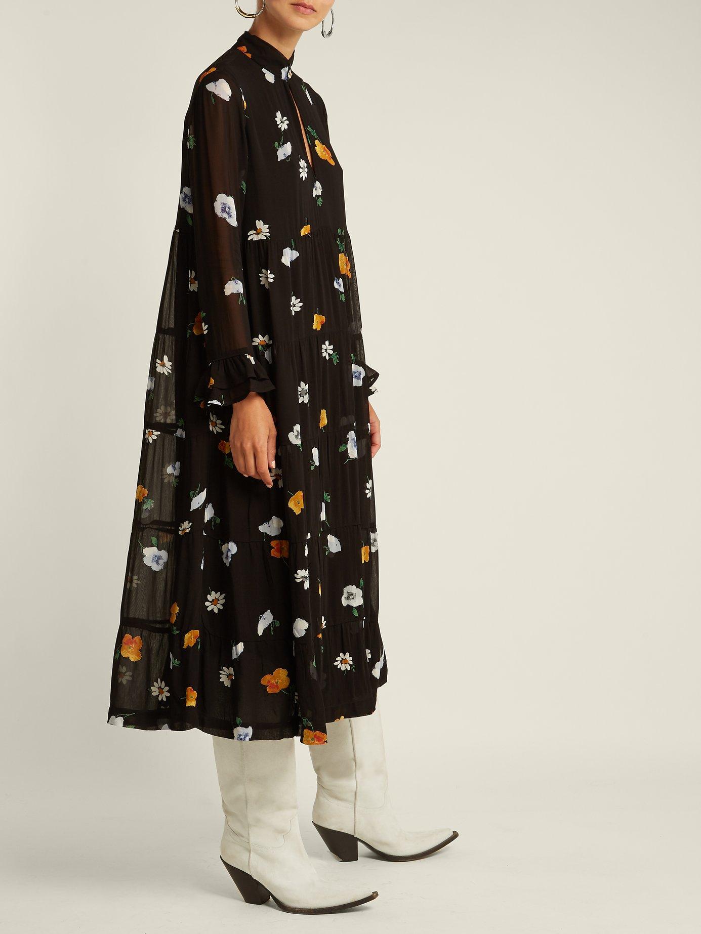 Dainty floral-print crepe-georgette dress by Ganni
