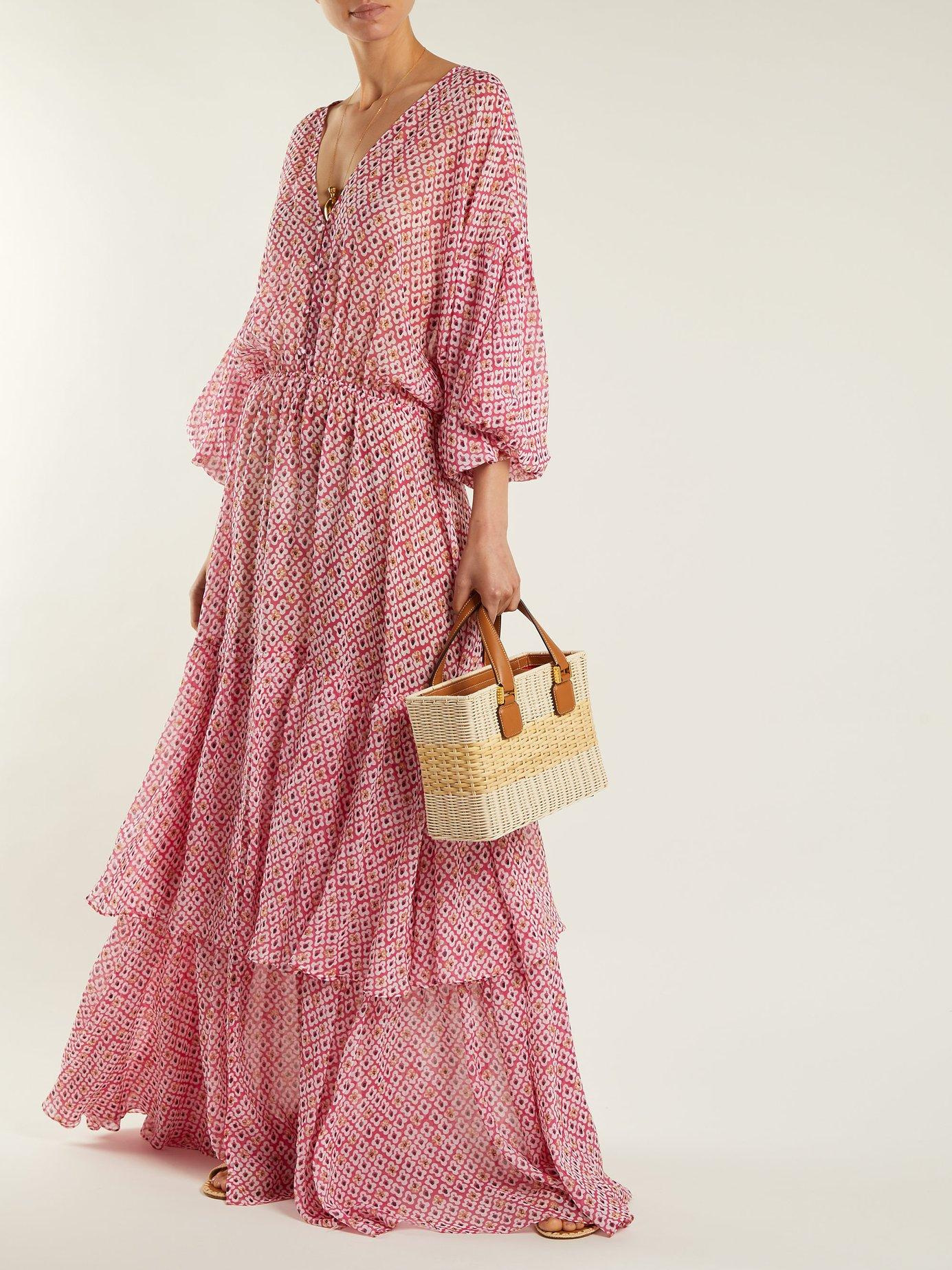 Nikki paisley-print crepe de Chine silk dress by Saloni