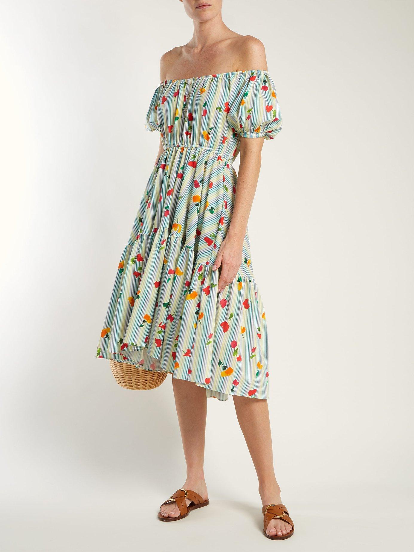 Striped floral-print cotton-blend dress by Caroline Constas