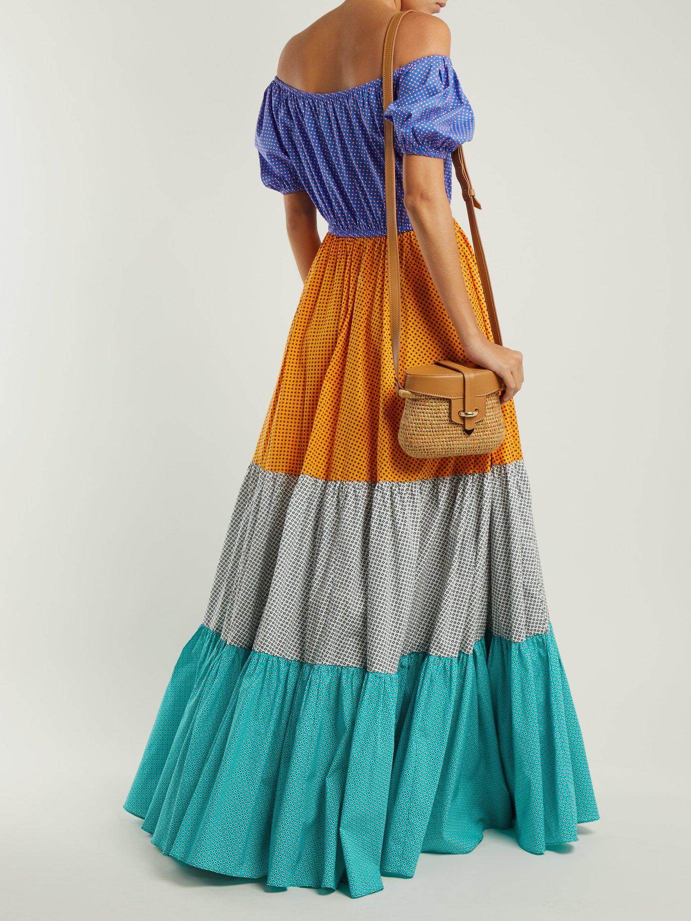 Panelled cotton-blend maxi dress by Caroline Constas