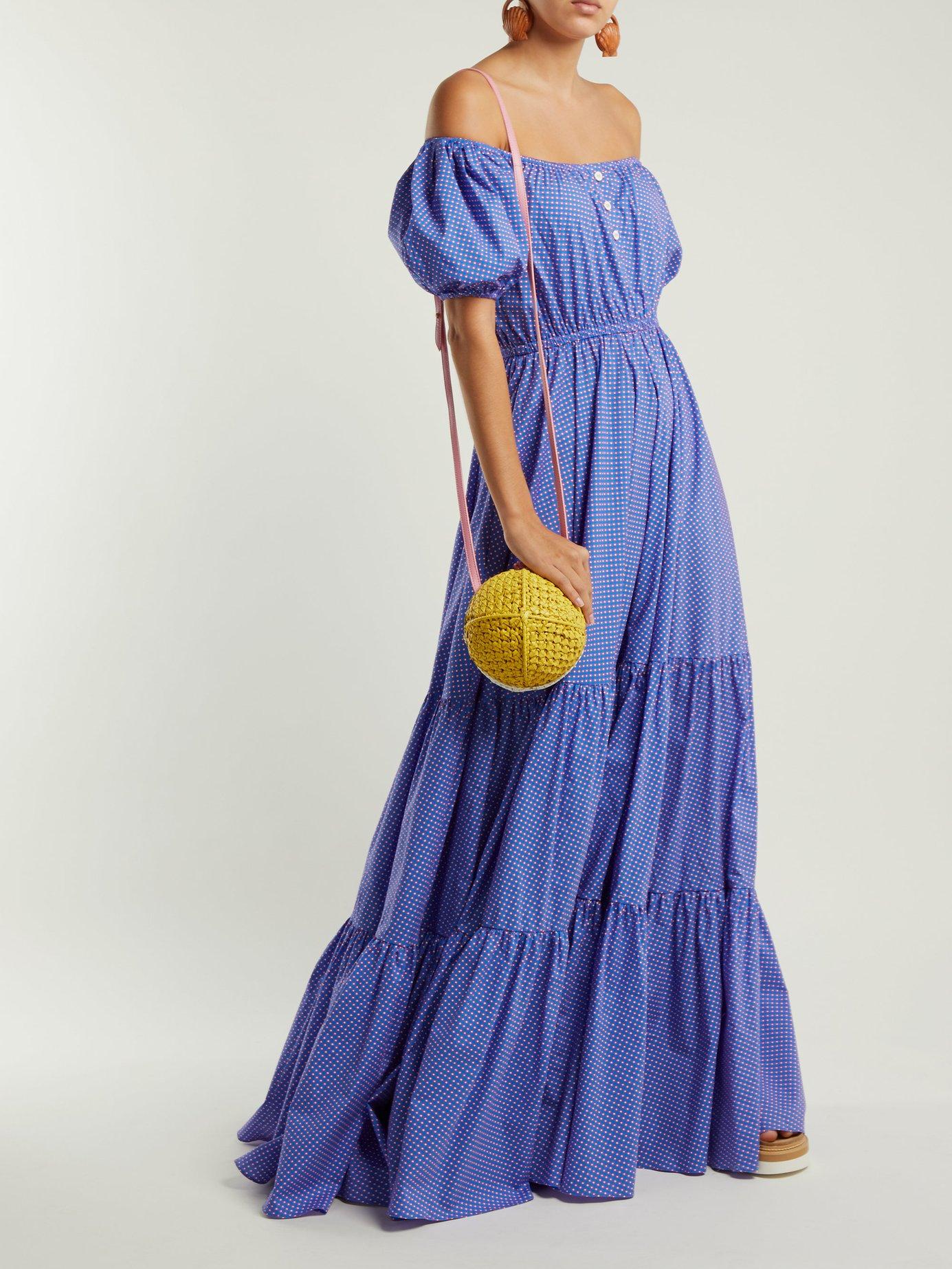 Bardot off-the-shoulder geometric-print maxi dress by Caroline Constas
