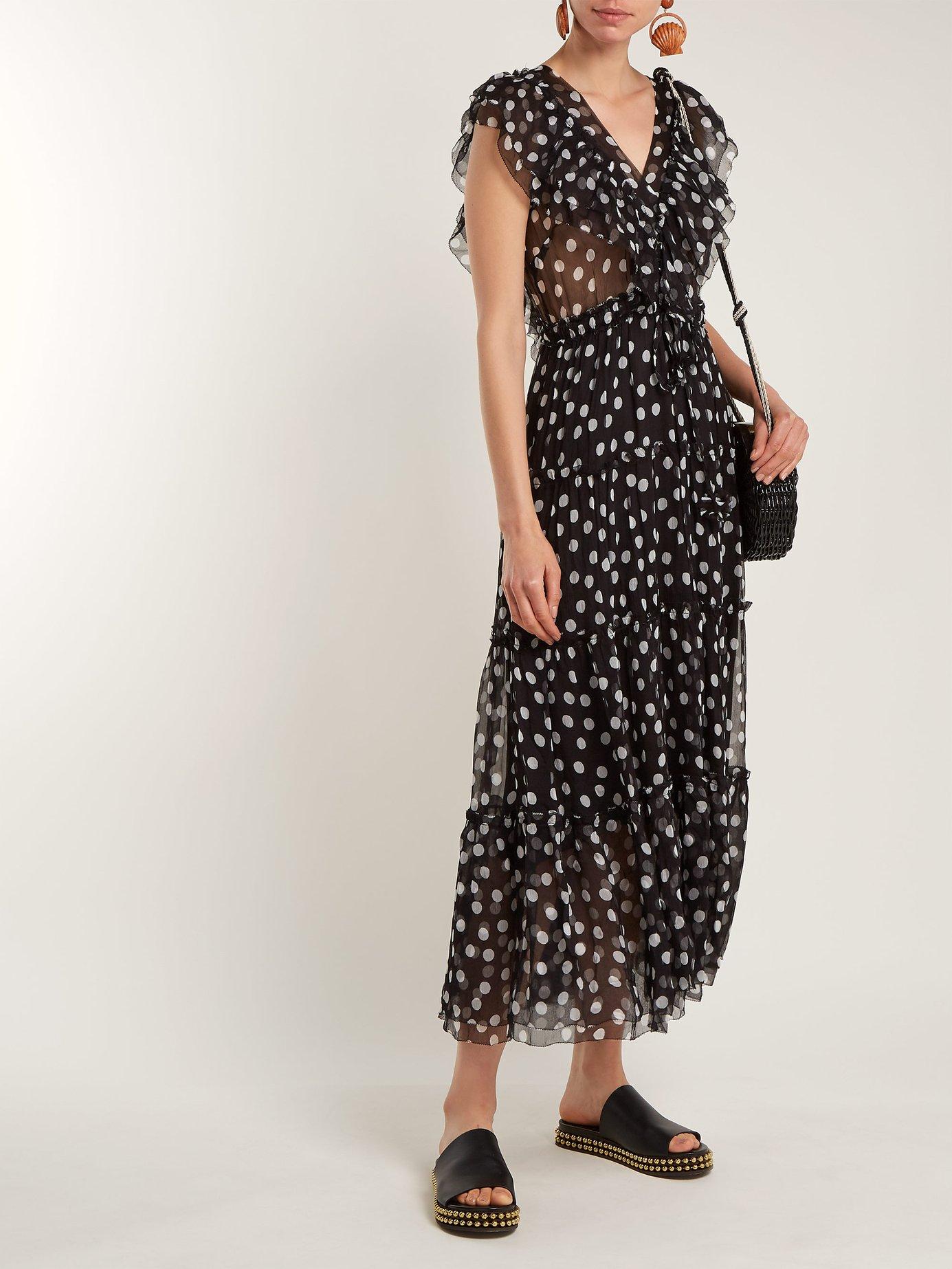 Mansfield polka-dot V-neck silk dress by Lee Mathews