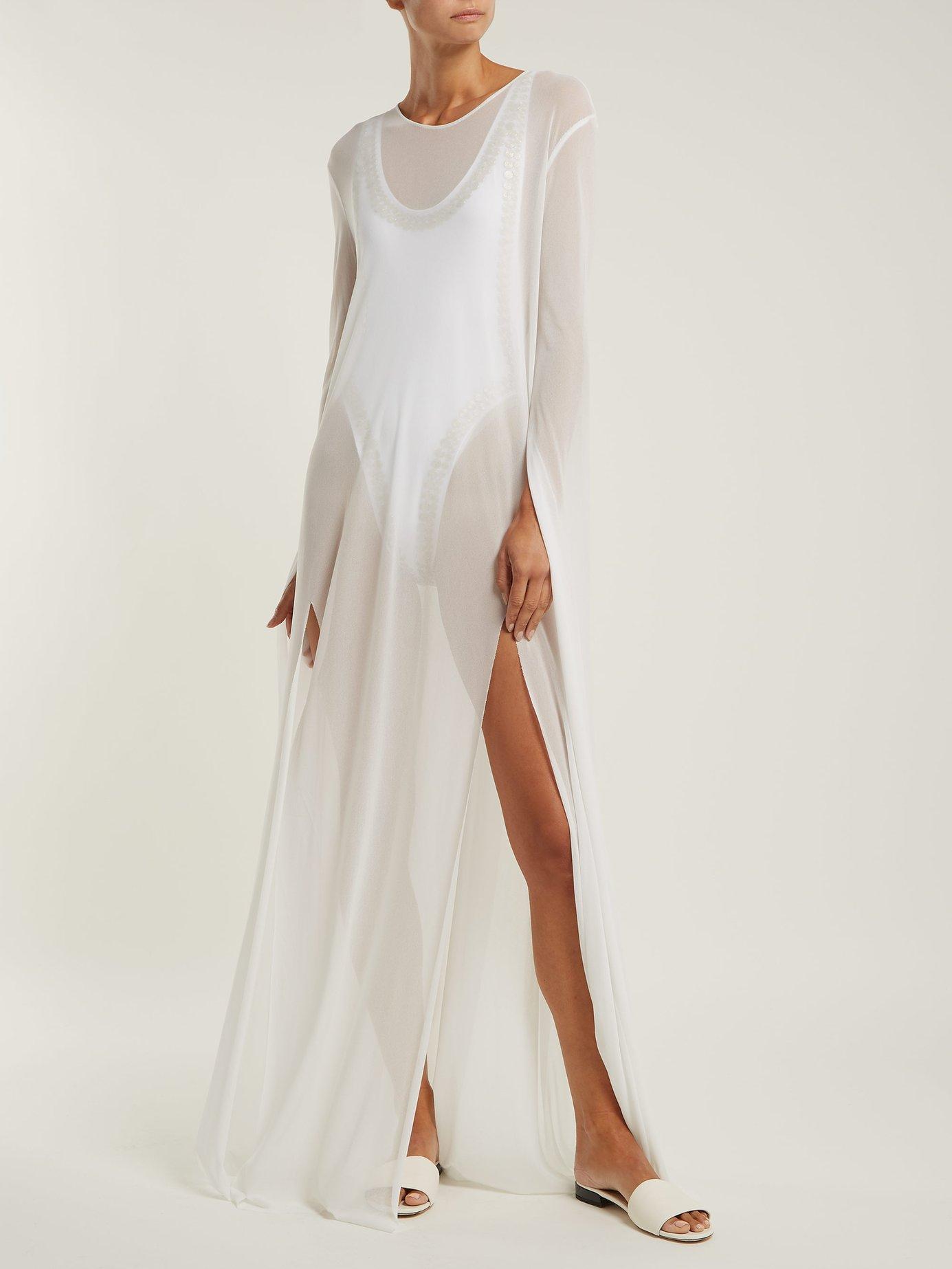 Ribbon-sleeve maxi dress by Norma Kamali