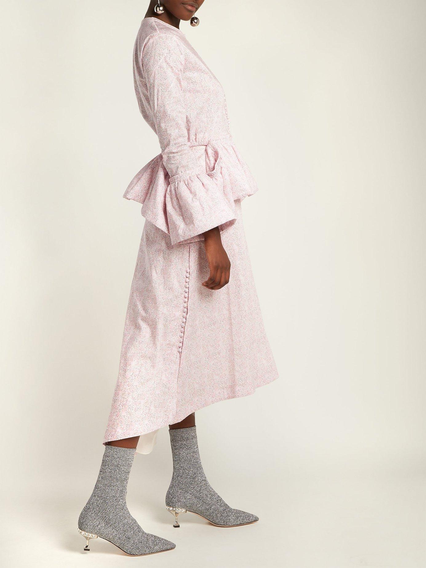 Ribbed-knit metallic-glitter sock ankle boots by Miu Miu