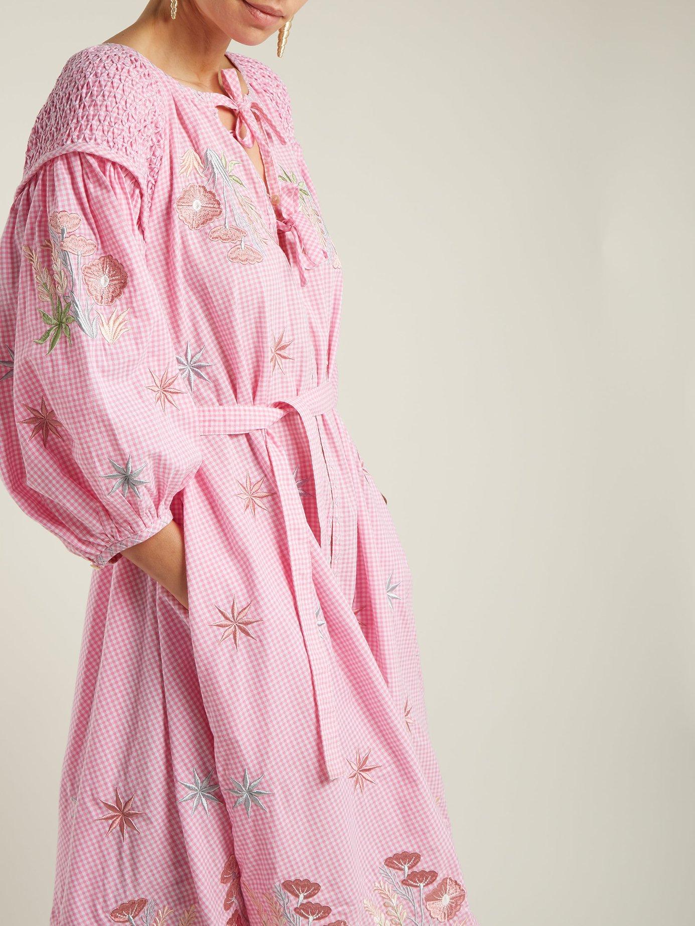 Gingham balloon-sleeve cotton dress by Innika Choo