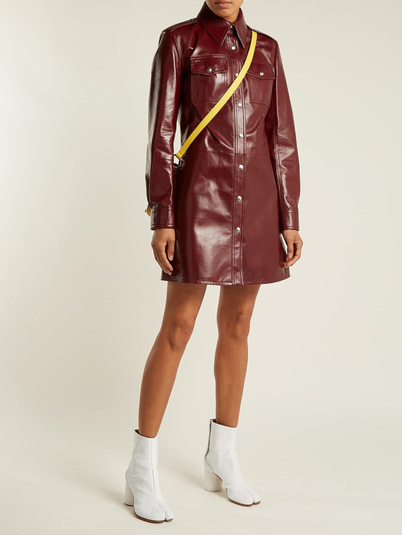 Leather button-through shirtdress by Calvin Klein 205W39Nyc