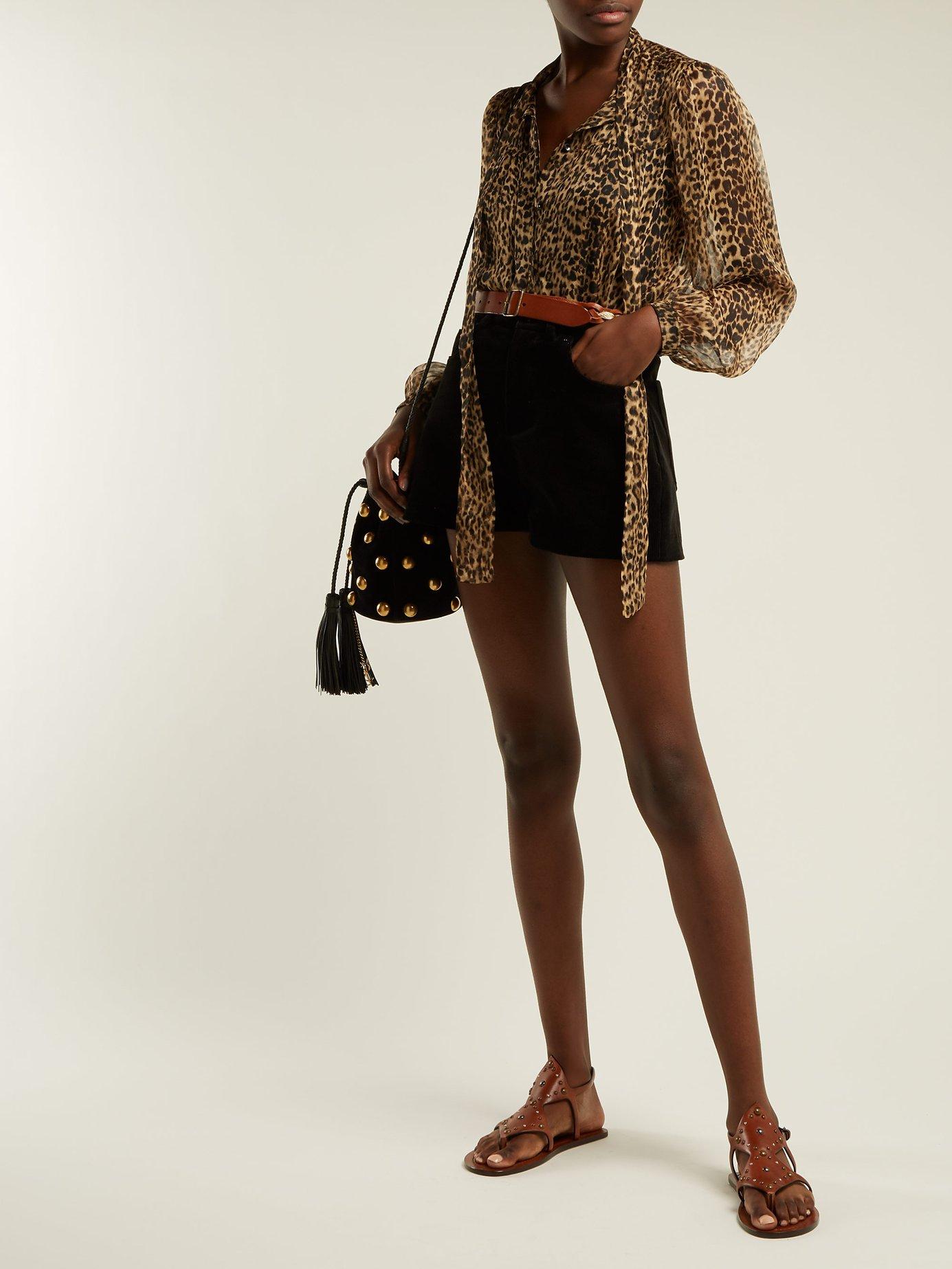 Ella studded leather sandals by Saint Laurent