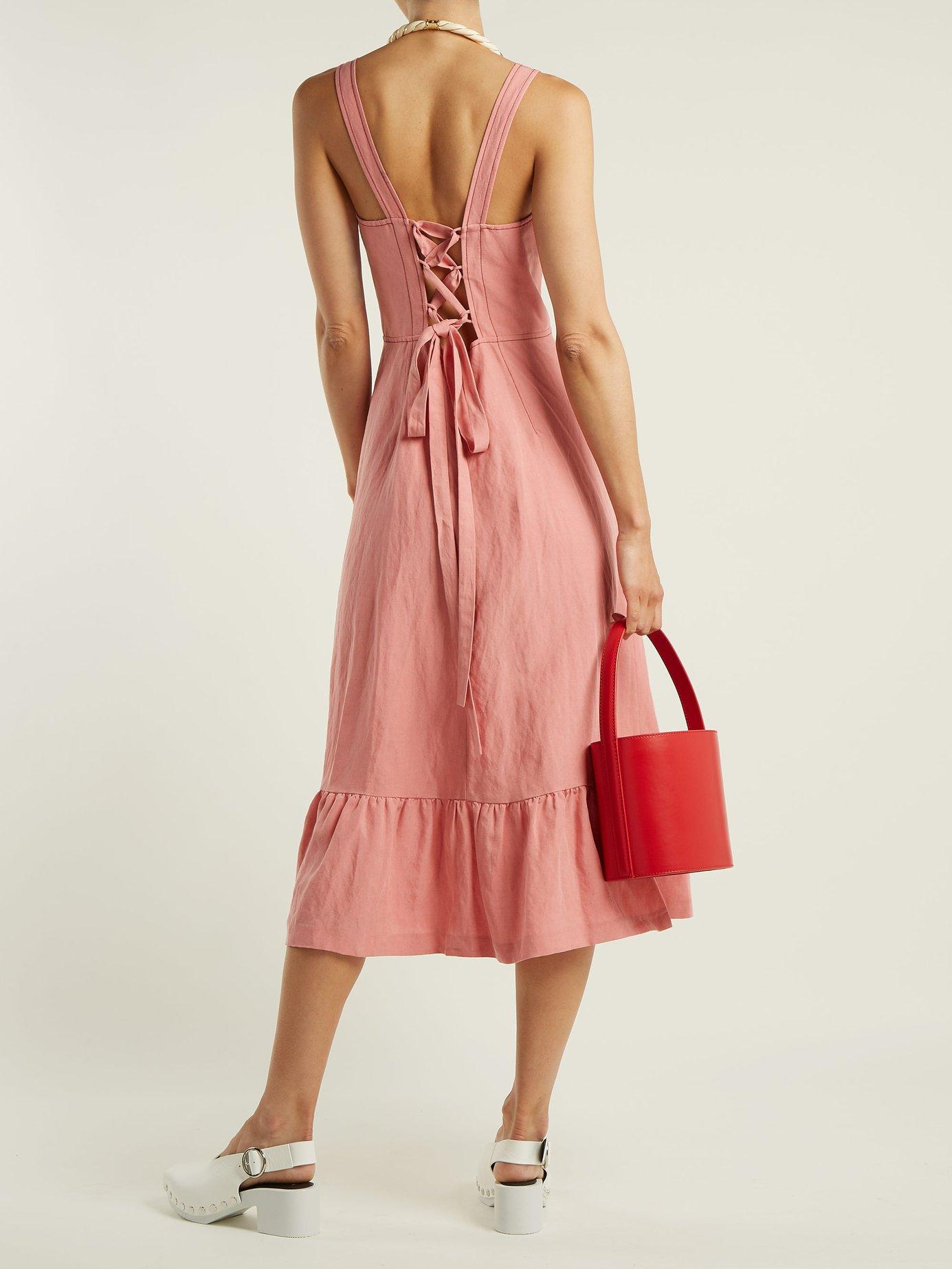Lace-up back linen midi dress by Rebecca Taylor