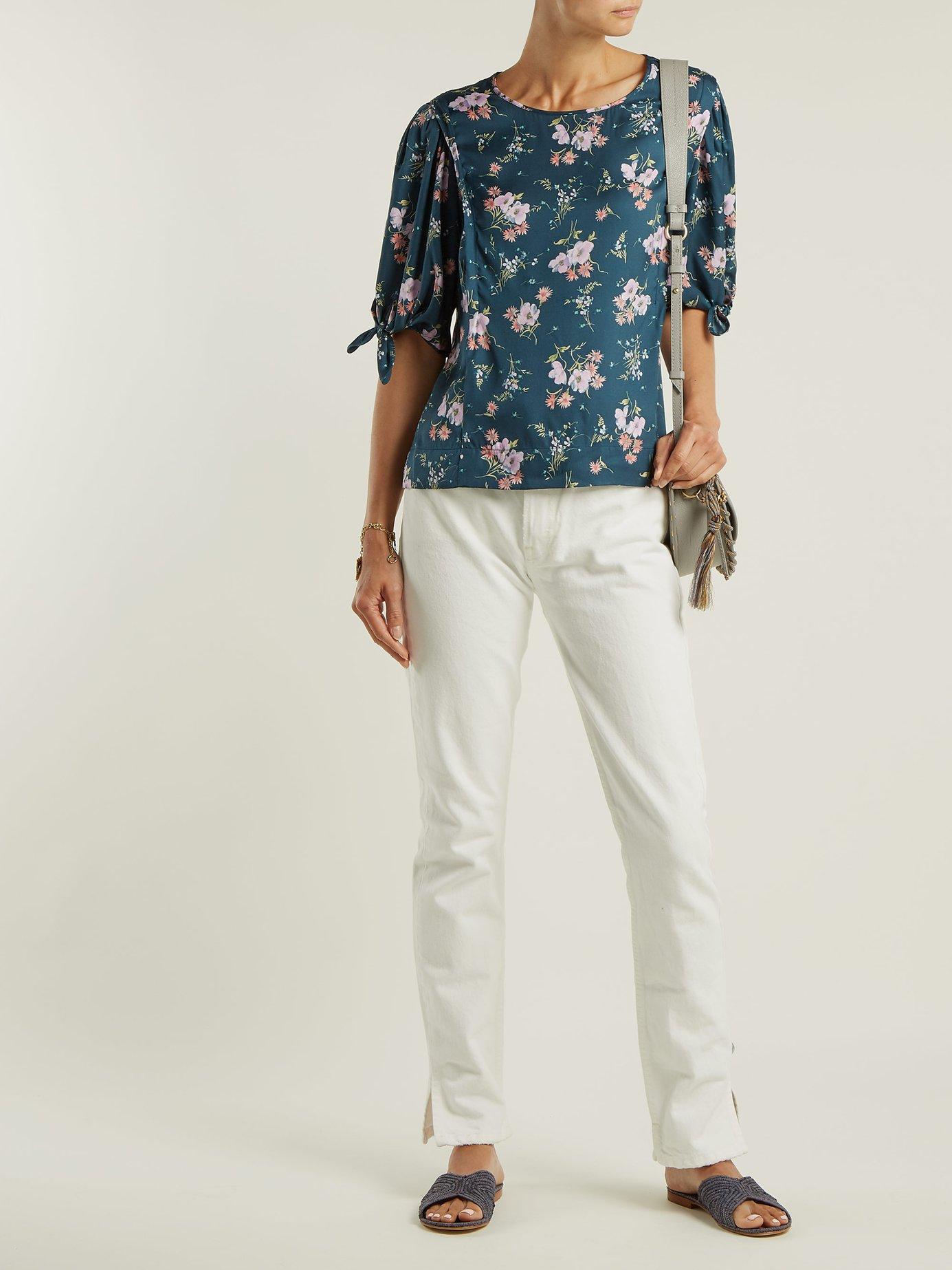 Emilia floral-print silk-twill top by Rebecca Taylor