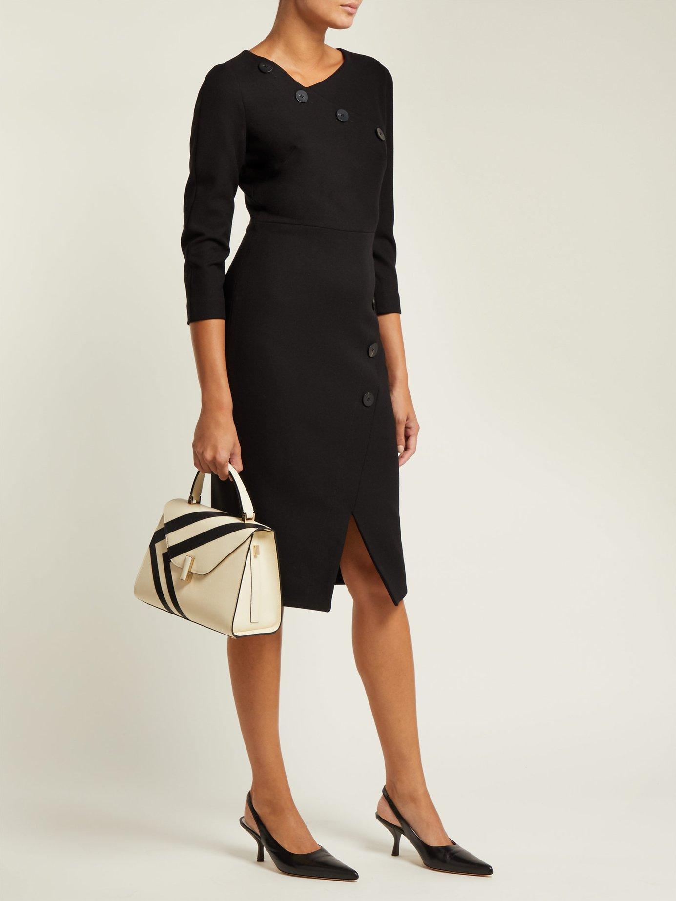 Button-embellished stretch-ponte midi dress by Cefinn