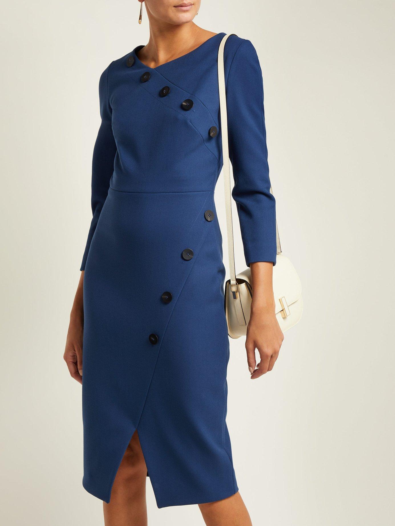 Buttoned ponte pencil dress by Cefinn